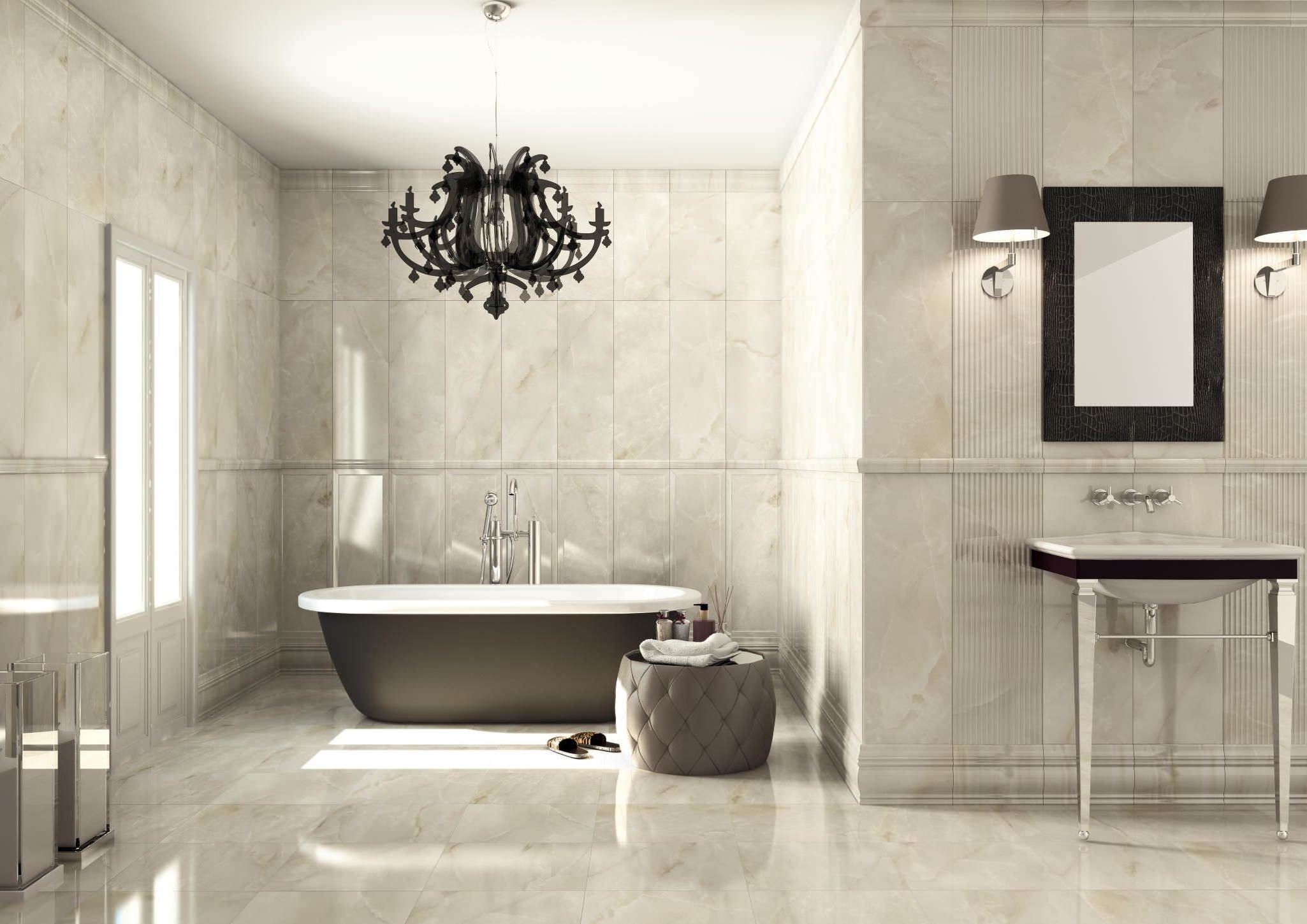 Light : Amazing Gray Marble Bathroom Wall With Nice Chandelier Inside Preferred Chandeliers For Bathrooms (View 8 of 15)
