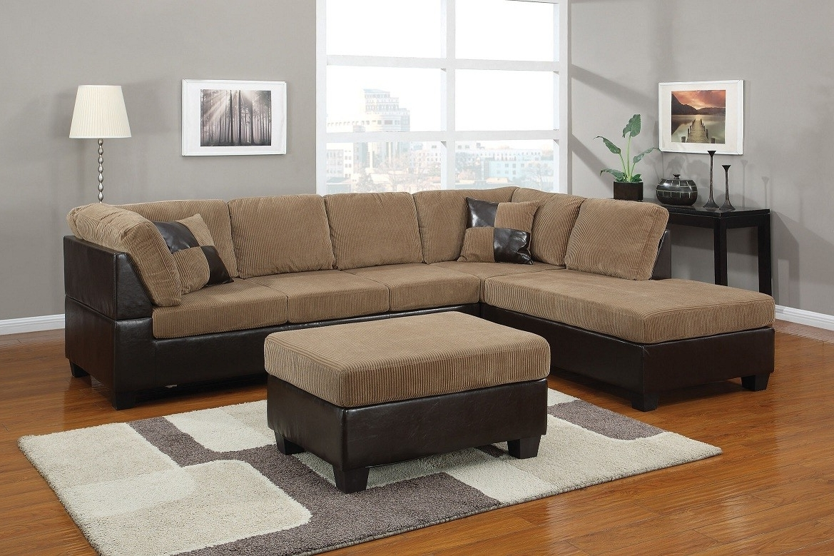 Light Brown Corduroy Sectional Sofa Lowest Price – Sofa, Sectional In Trendy Sectional Sofas At Brampton (View 4 of 15)