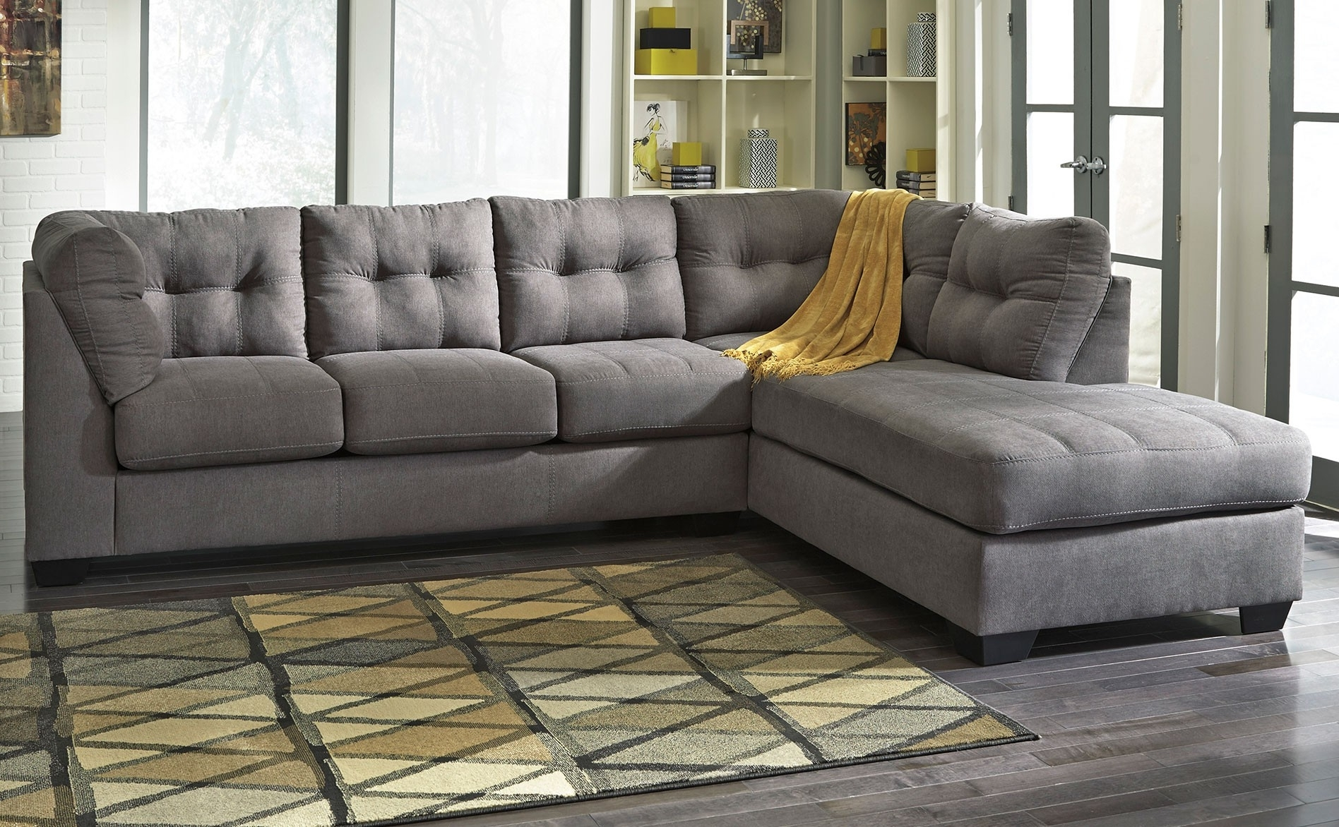 Light Gray Sectional Couch With Wide Chaise And Short Metal Legs With Regard To Latest Charcoal Gray Sectional Sofas With Chaise Lounge (View 5 of 15)