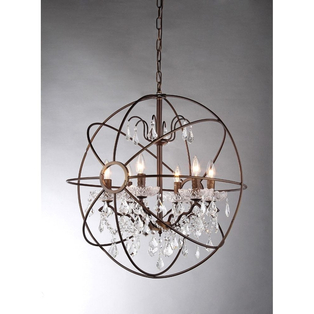 Lighting: Oil Rubbed Bronze 6 Light Crystal Globe Chandelier For In Trendy Crystal Globe Chandelier (View 9 of 15)