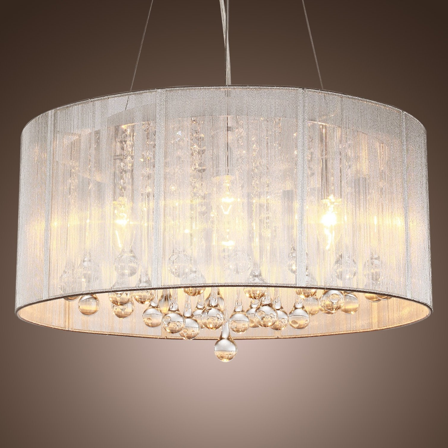 Lightinthebox Modern Silver Crystal Pendant Light In Cylinder Shade With Regard To Newest Cream Crystal Chandelier (View 4 of 15)