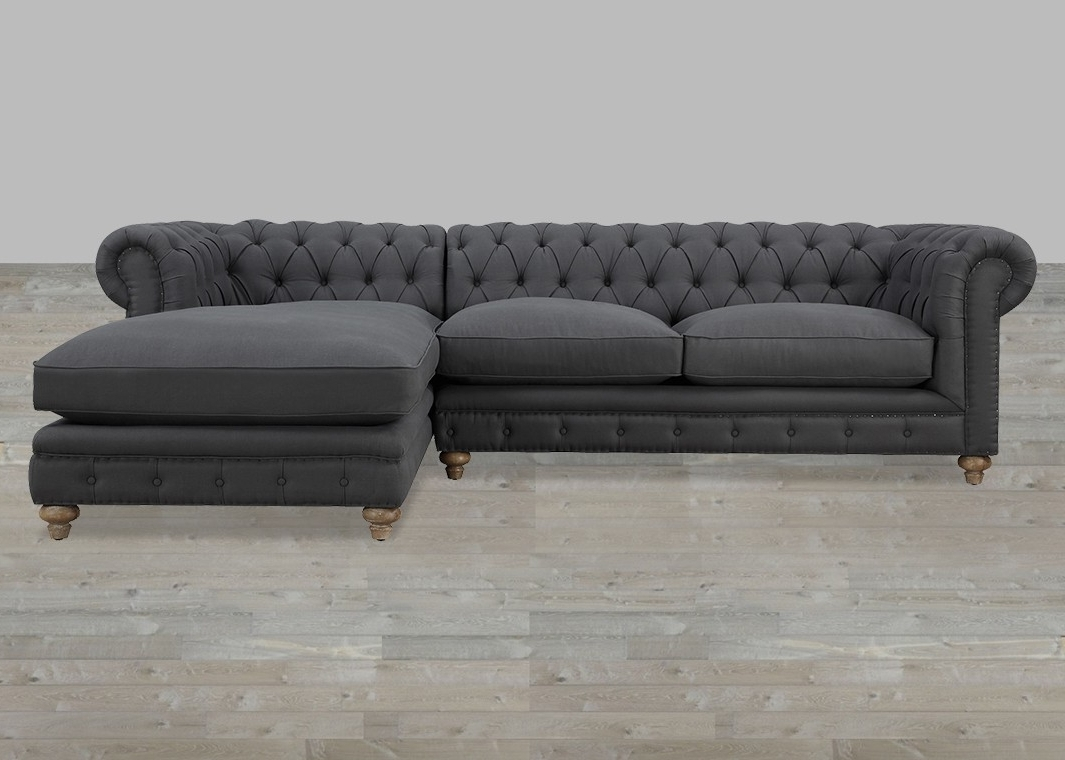 Linen Raf Sectional Button Tufted With Nailheads Within Well Known Gray Chaise Sofas (View 7 of 15)