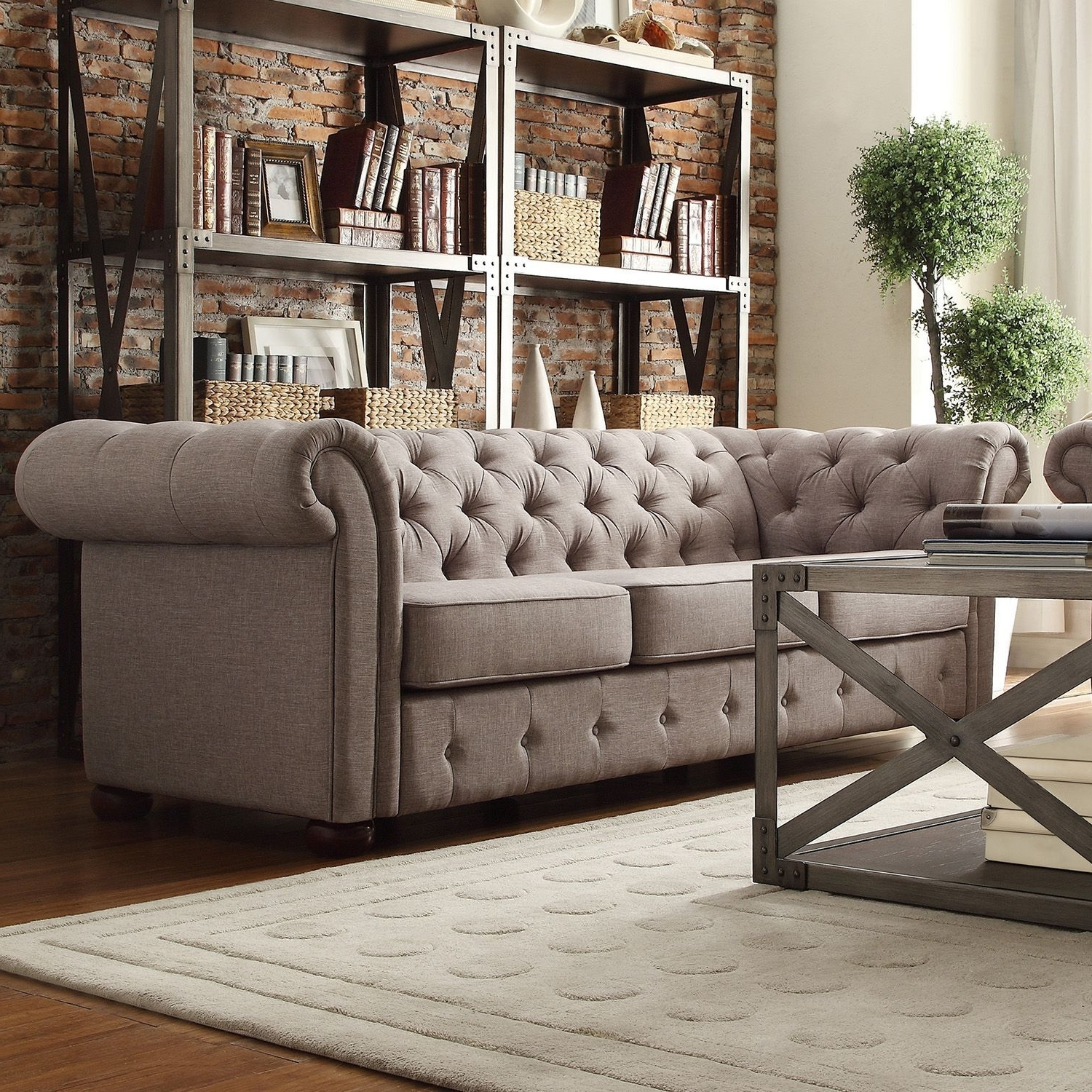 Linens, Tufted Sofa And In Tufted Linen Sofas (View 4 of 15)