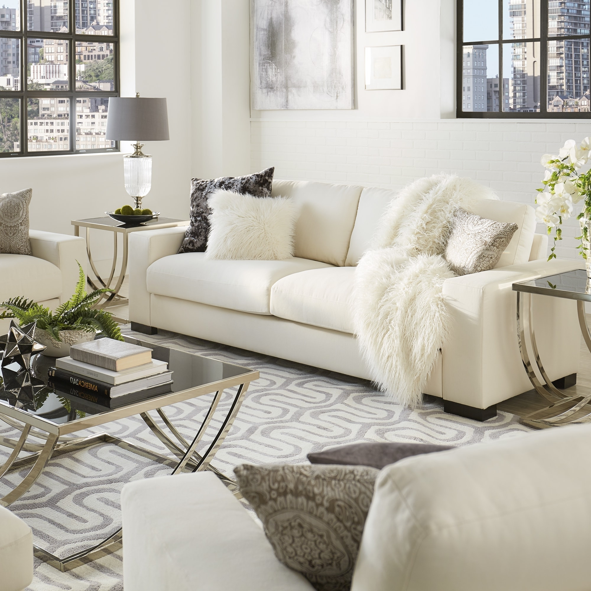 Lionel Modern White Fabric Down Filled Sofainspire Q Artisan Intended For Fashionable Down Filled Sofas (View 9 of 15)