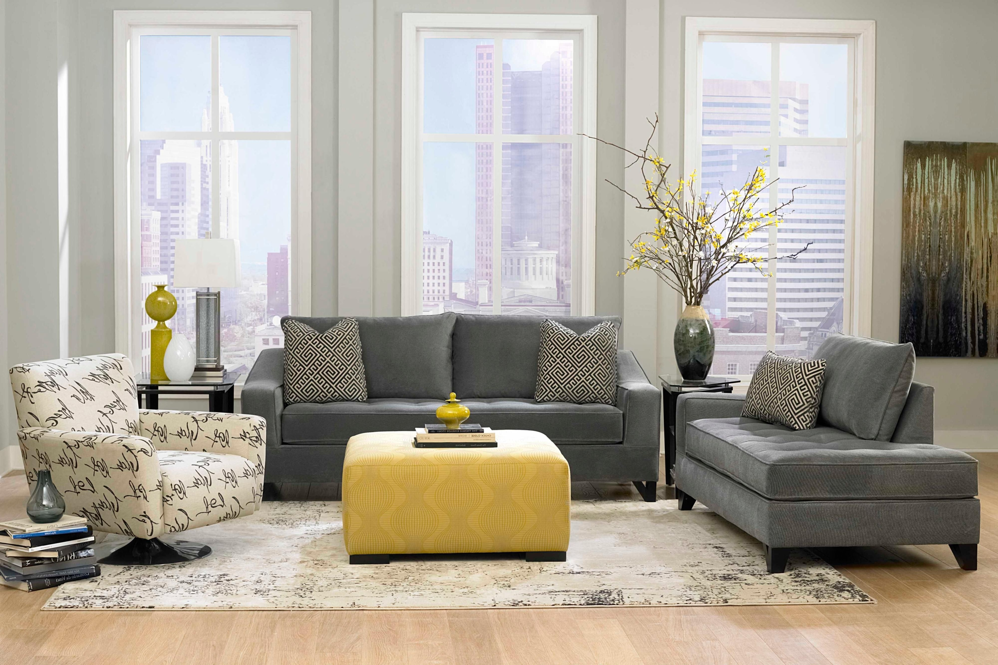Living Room, Dark Grey Sofas With Grey Wall Paint Decorating Also In Fashionable Yellow Sofa Chairs (View 9 of 15)