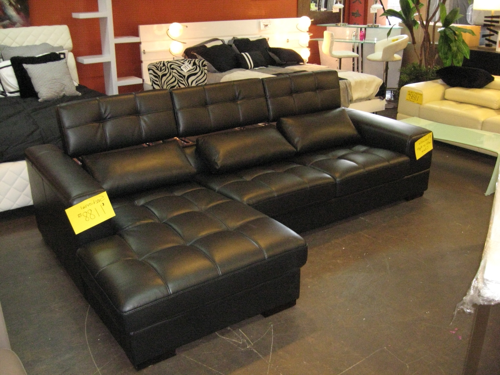 Living Room Design: Awesome Black Leather Sectional For Elegant In Well Liked Leather Modular Sectional Sofas (View 9 of 15)