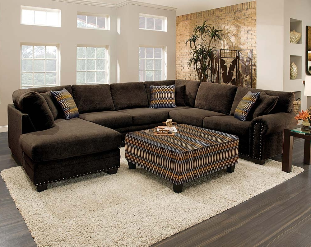 Living Room: Sectional Sofa Admirable Design Of Chocolate Brown Regarding Well Liked Fabric Sectional Sofas With Chaise (View 11 of 15)