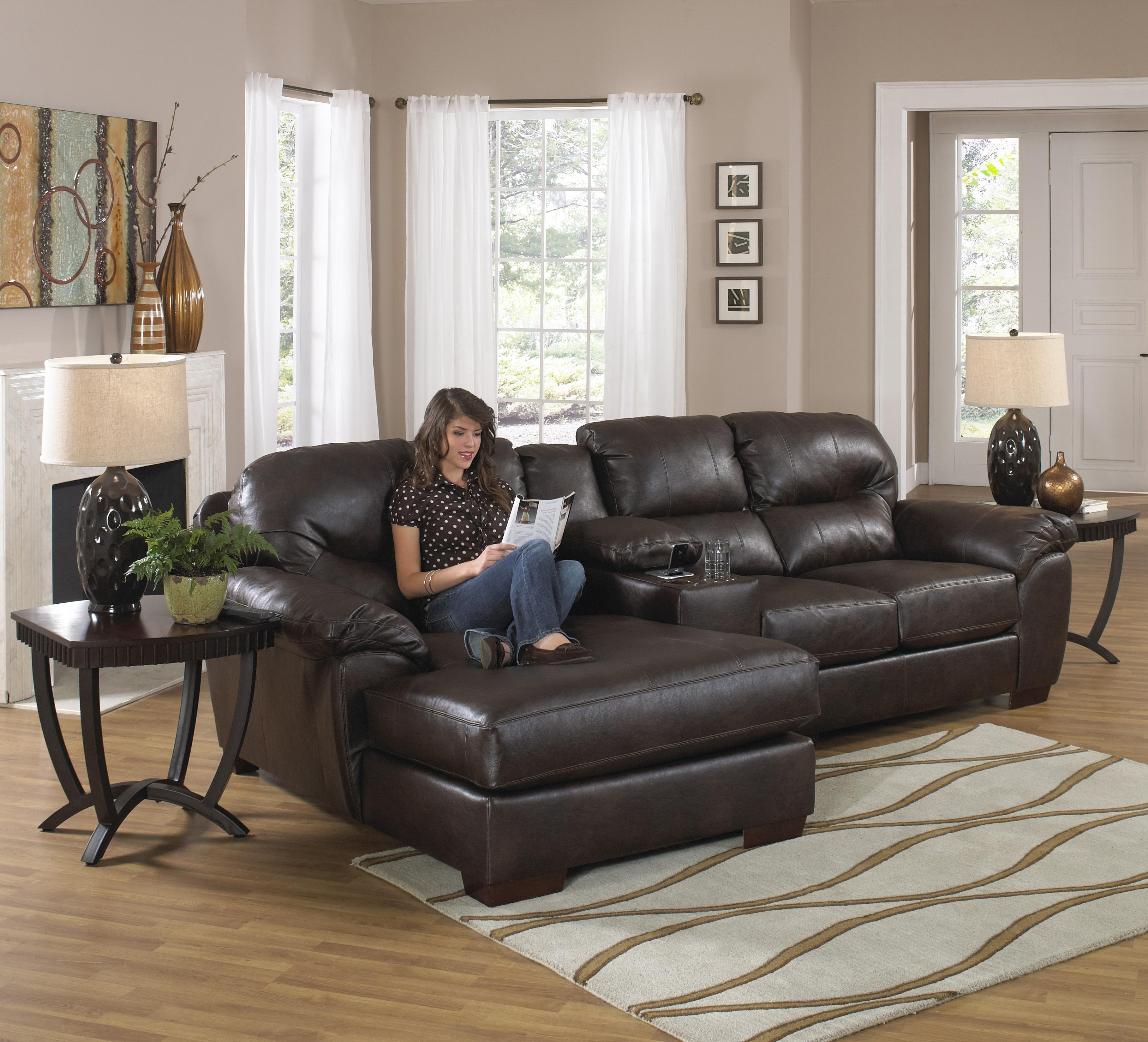 Long Chaise Sofas Pertaining To Trendy Three Seat Sectional Sofa With Console And Chaisejackson (View 9 of 15)