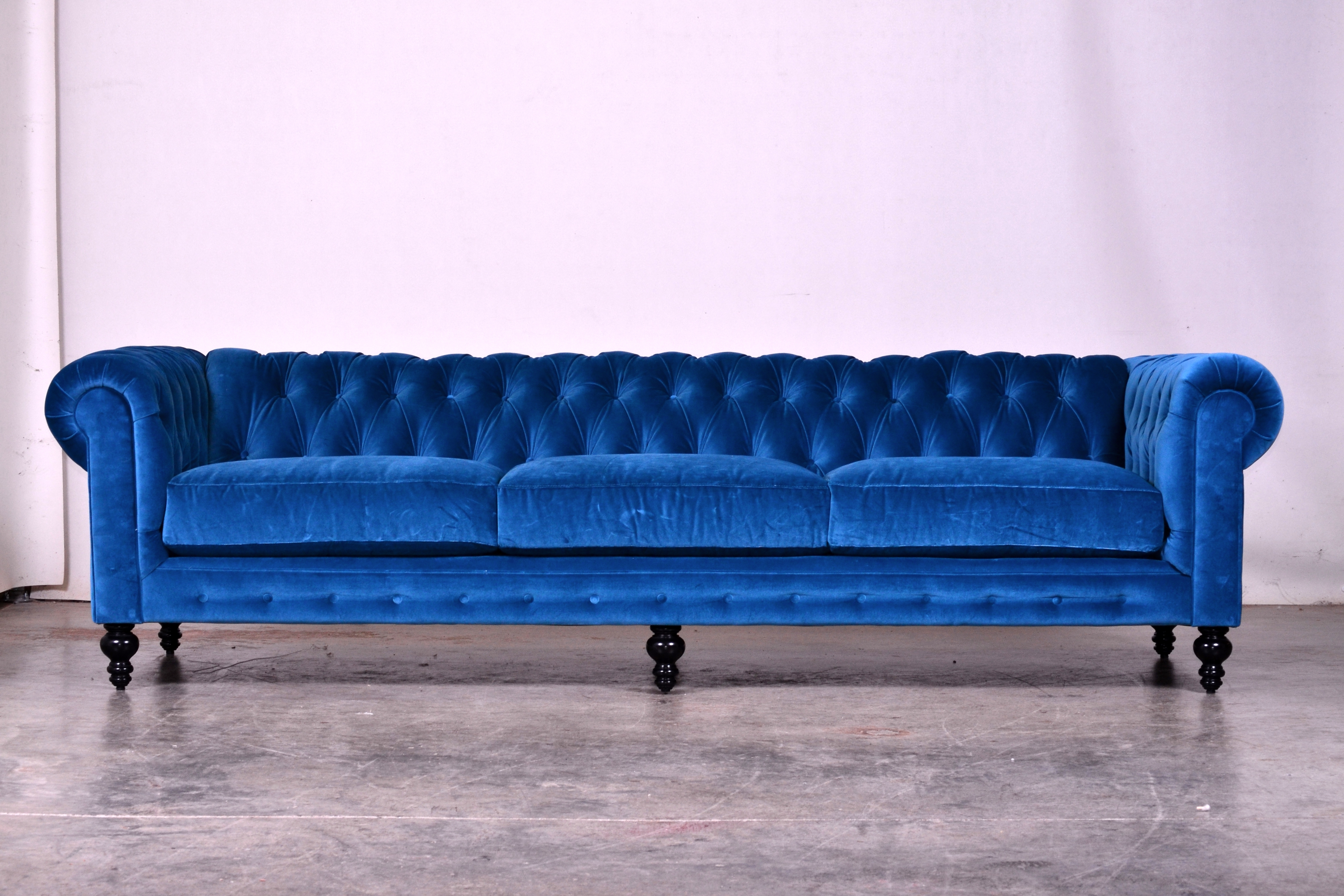 Long Modern Sofas With Regard To 2018 The Comfortable Couch Company (Cococo) Como Cyan Chesterfield (View 7 of 15)