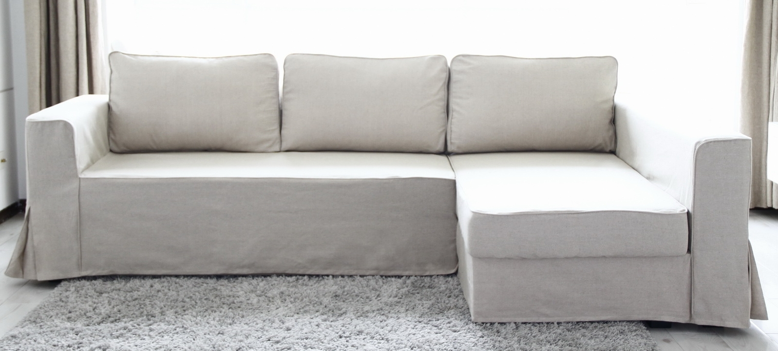 Loose Fit Linen Manstad Sofa Slipcovers Now Available Throughout Best And Newest Karlstad Chaise Covers (View 11 of 15)