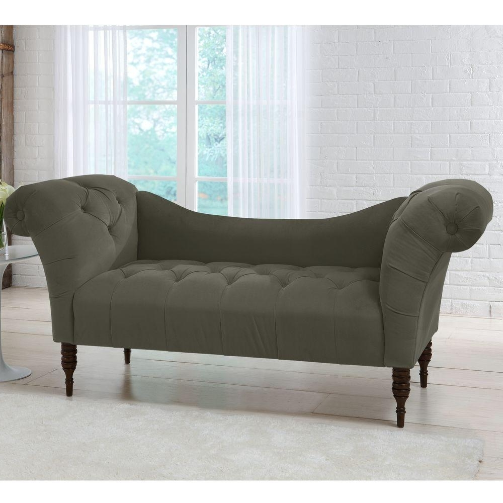 Loveseat Chaise Lounges Throughout Well Liked Savannah Pewter Velvet Tufted Chaise Lounge 6006Vpew – The Home Depot (View 4 of 15)