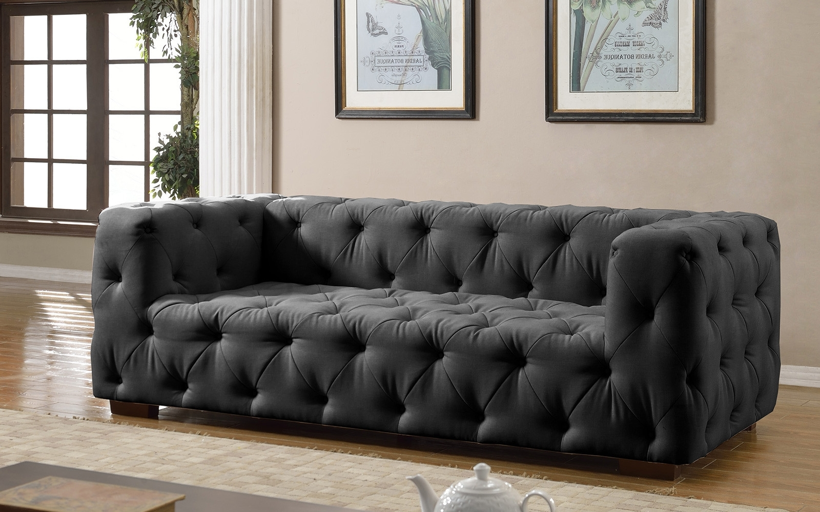 Luxurious Modern Large Tufted Linen Fabric Sofa – Walmart Intended For Current Tufted Linen Sofas (View 9 of 15)