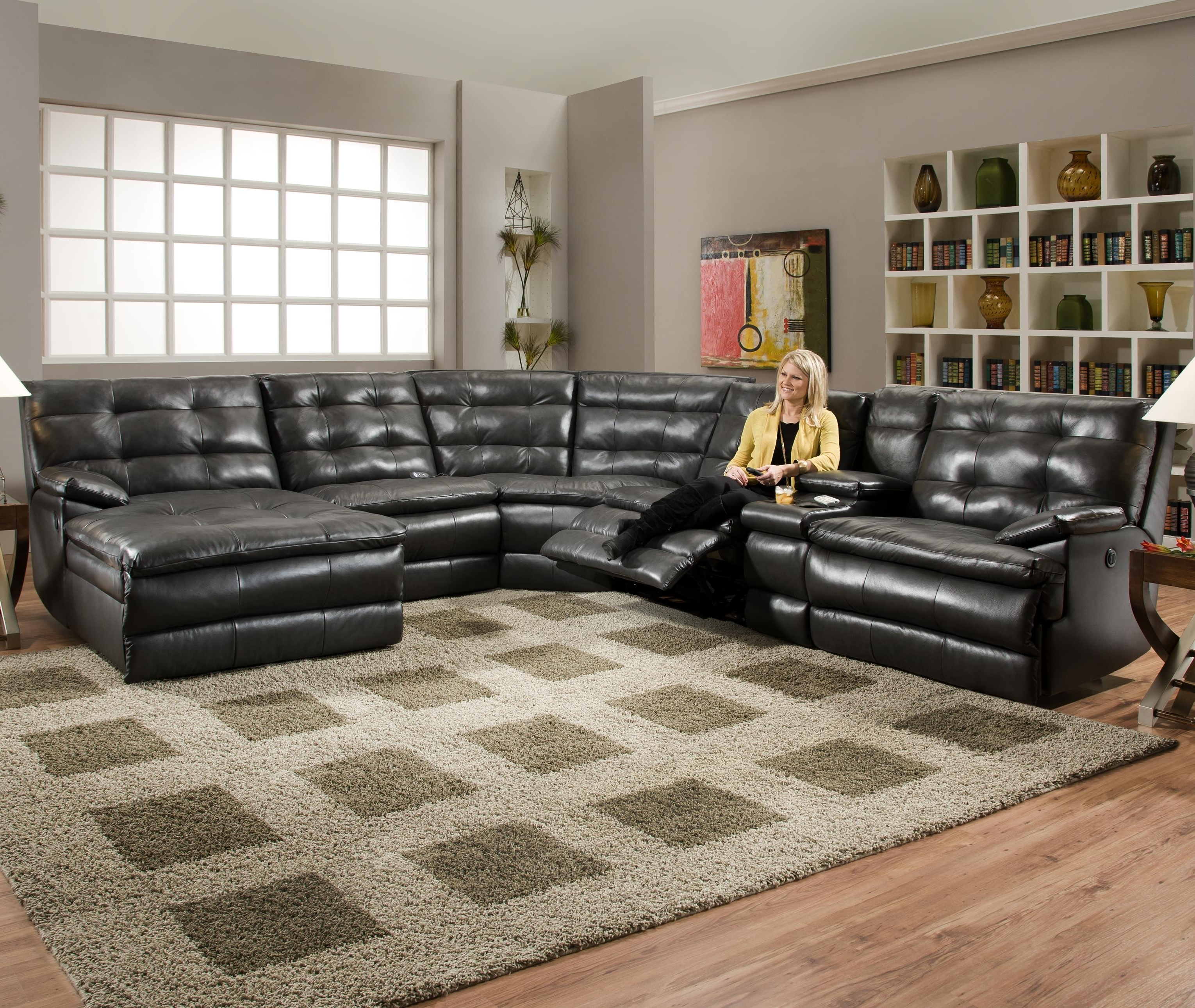 Luxurious Tufted Leather Sectional Sofa In Classy Black Color With Within Well Known Motion Sectional Sofas (View 6 of 15)