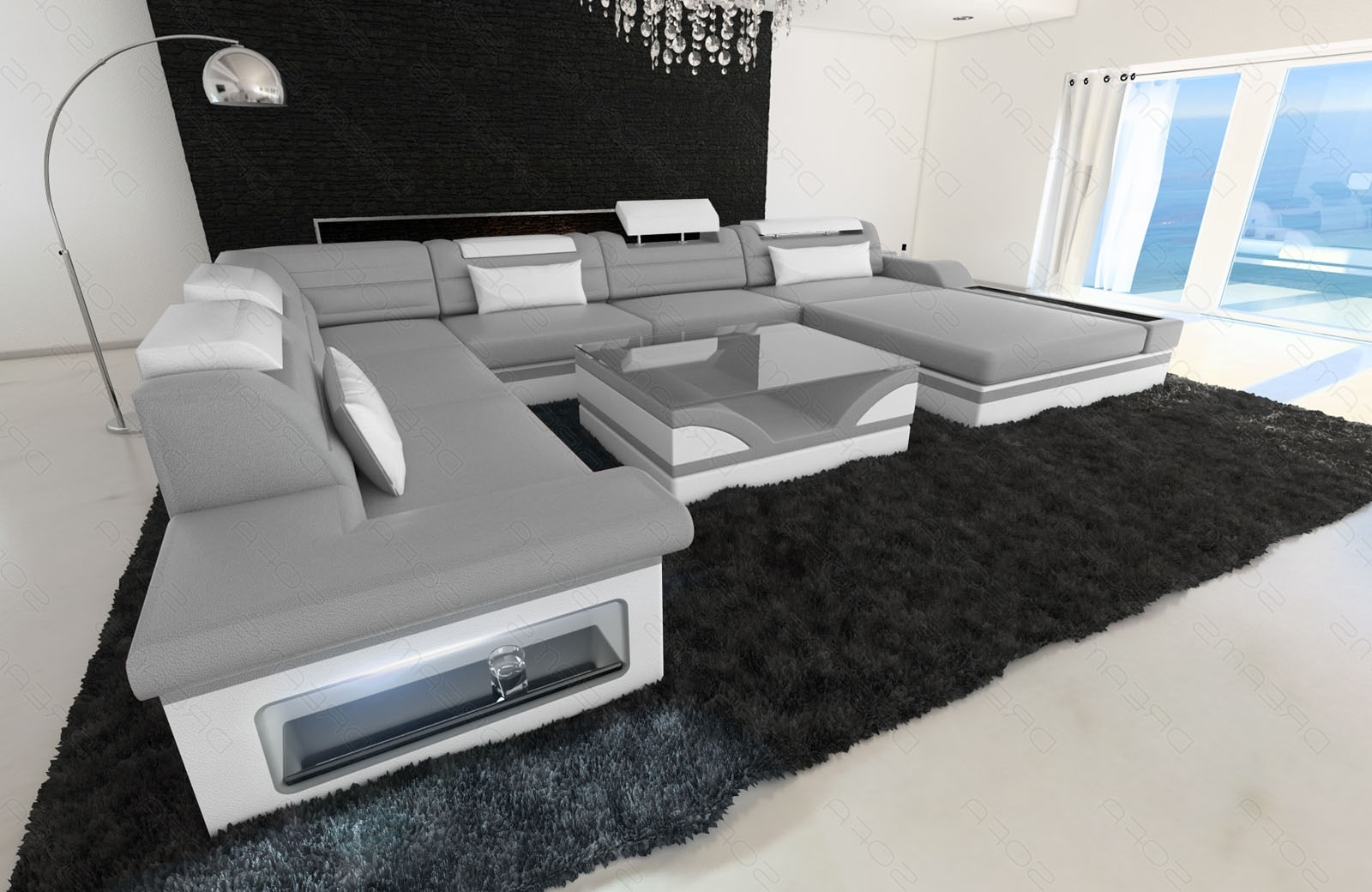 Luxury Sectional Sofas In Favorite Sofa Mezzo Xxl With Led Lights Genuine Leather Luxury Design (View 7 of 15)