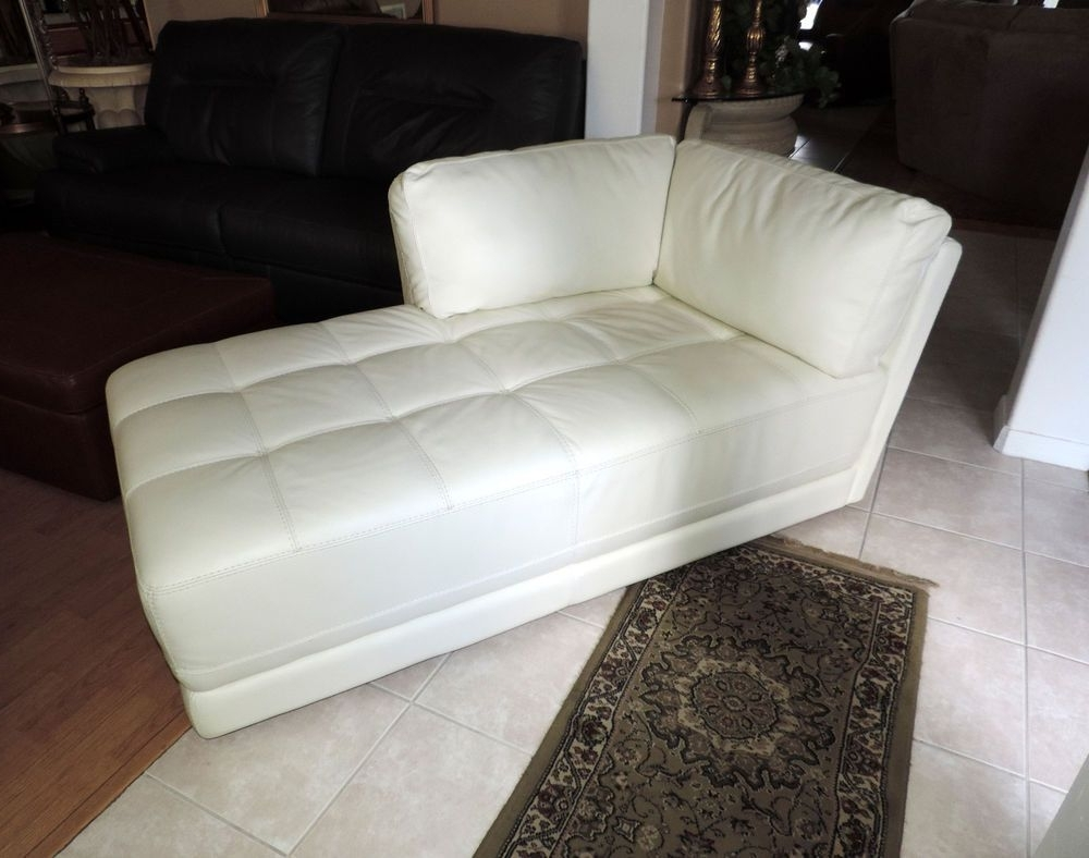 Macy's Traverso Modern White Leather Chaise Lounge*we Ship Throughout 2017 White Leather Chaises (View 6 of 15)