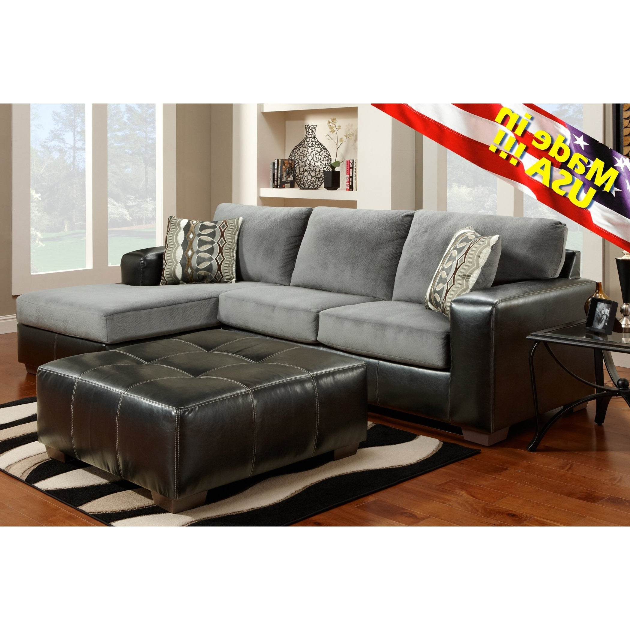 Made In Usa Sectional Sofas Regarding 2017 Cumulus Black Gray Two Toned Sectional Sofa Chaise Set, Made In (View 9 of 15)