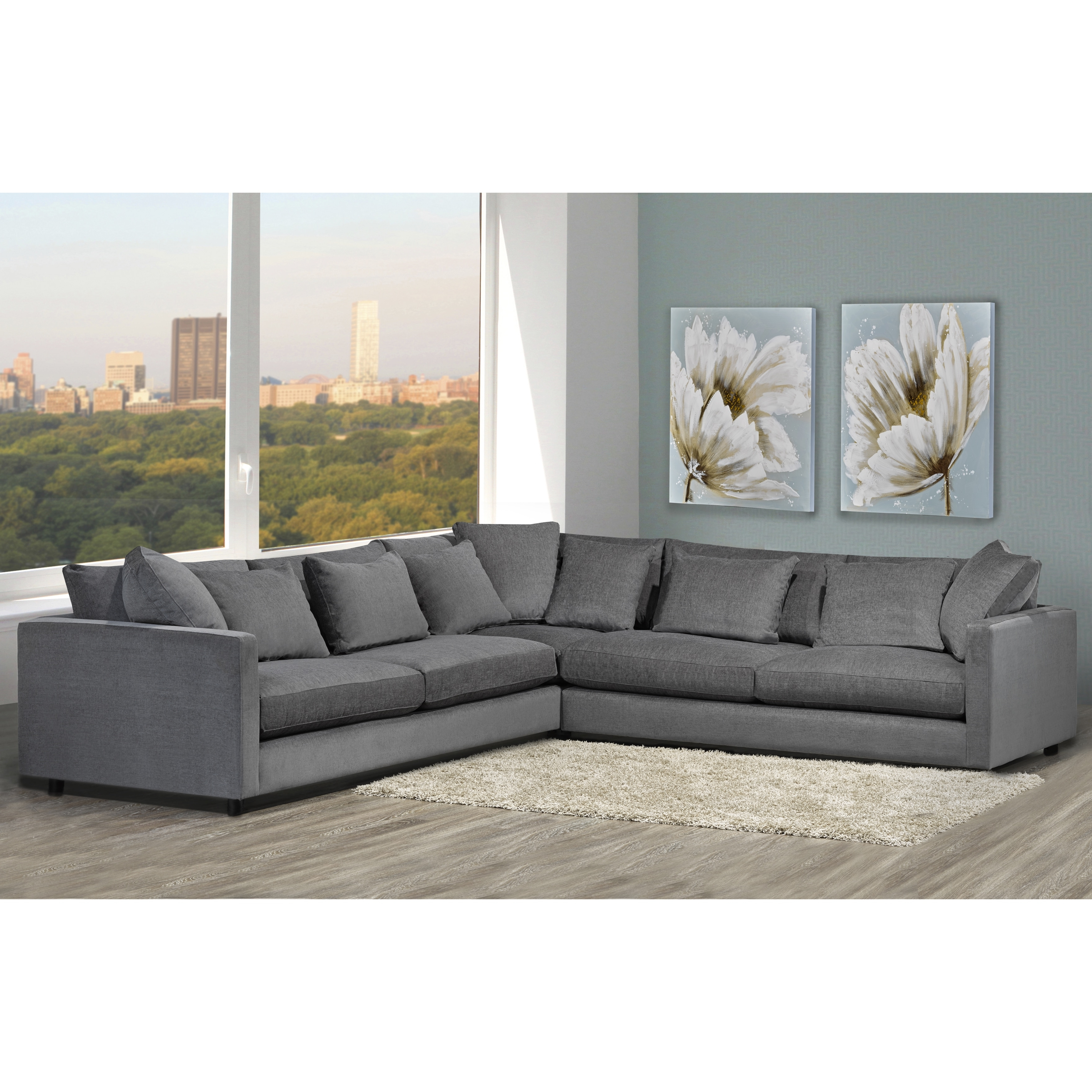 Made To Order Modern Lounge Down Filled Grey Fabric Sectional Sofa In Best And Newest Down Filled Sectional Sofas (View 10 of 15)