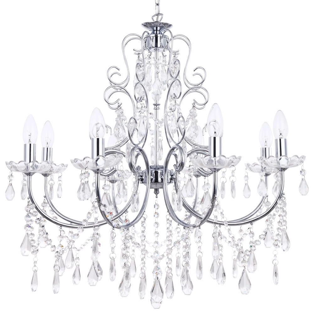 Madonna 8 Light Dual Mount Chrome Chandelier From Litecraft With Regard To Well Known Chrome Chandeliers (View 12 of 15)