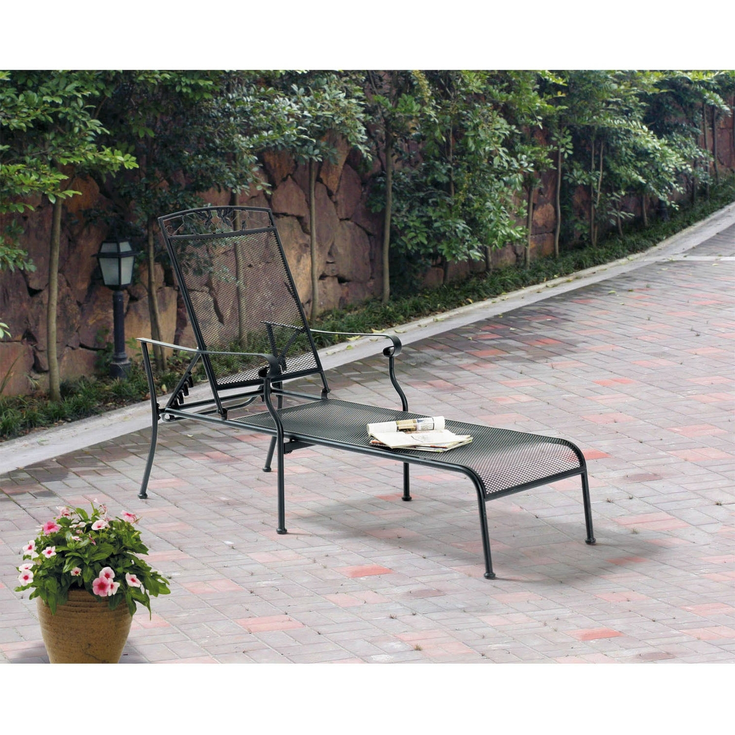 Mainstays Jefferson Wrought Iron Chaise Lounge, Black – Walmart For Well Known Wrought Iron Outdoor Chaise Lounge Chairs (View 12 of 15)