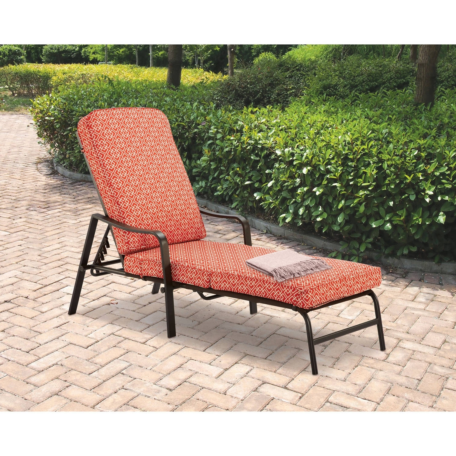 Mainstays Outdoor Chaise Lounge, Orange Geo Pattern – Walmart Throughout Latest Chaise Lounge Chair Outdoor Cushions (View 9 of 15)