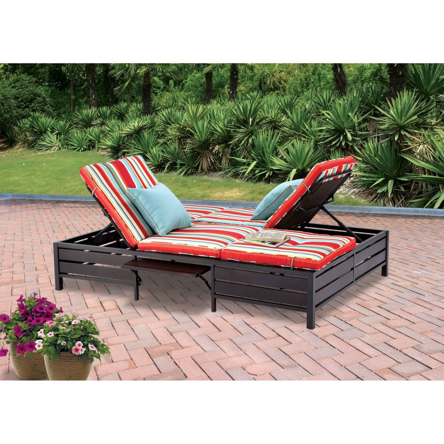 Mainstays Outdoor Double Chaise Lounger, Stripe, Seats 2 – Walmart Throughout Most Recent Walmart Chaise Lounge Cushions (View 2 of 15)