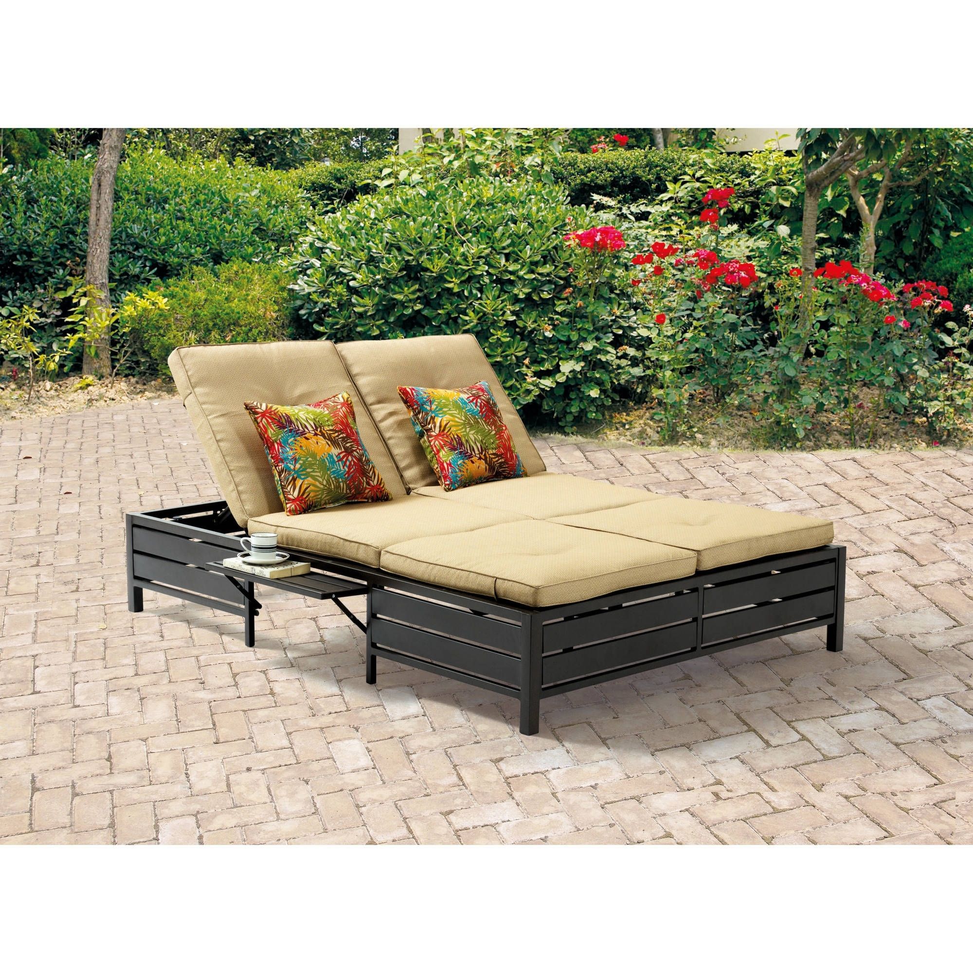 Mainstays Outdoor Double Chaise Lounger, Tan, Seats 2 – Walmart Inside Most Current Outdoor Double Chaise Lounges (View 7 of 15)