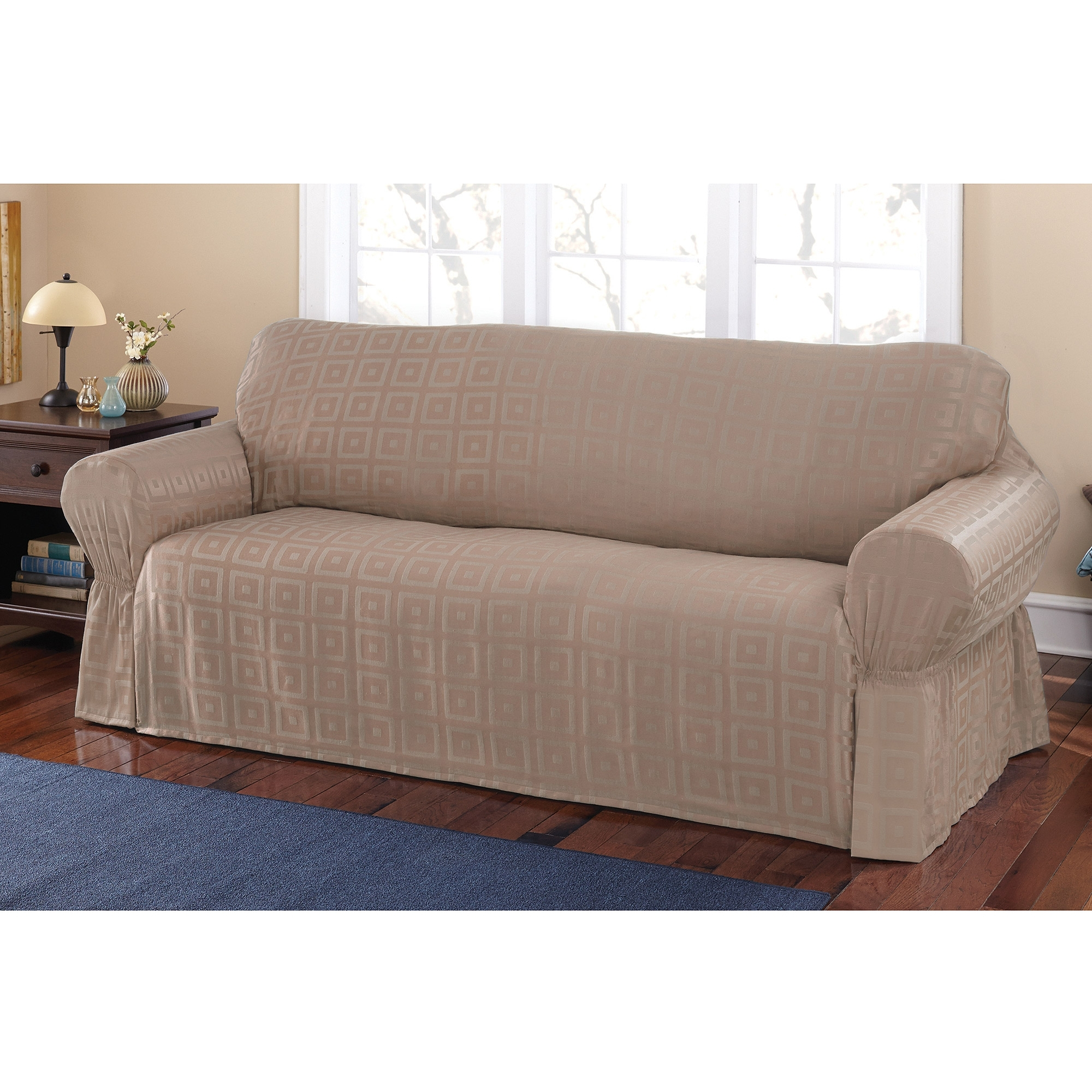 Mainstays Sherwood Slipcover Sofa – Walmart With Regard To Famous Sectional Sofas At Walmart (View 15 of 15)