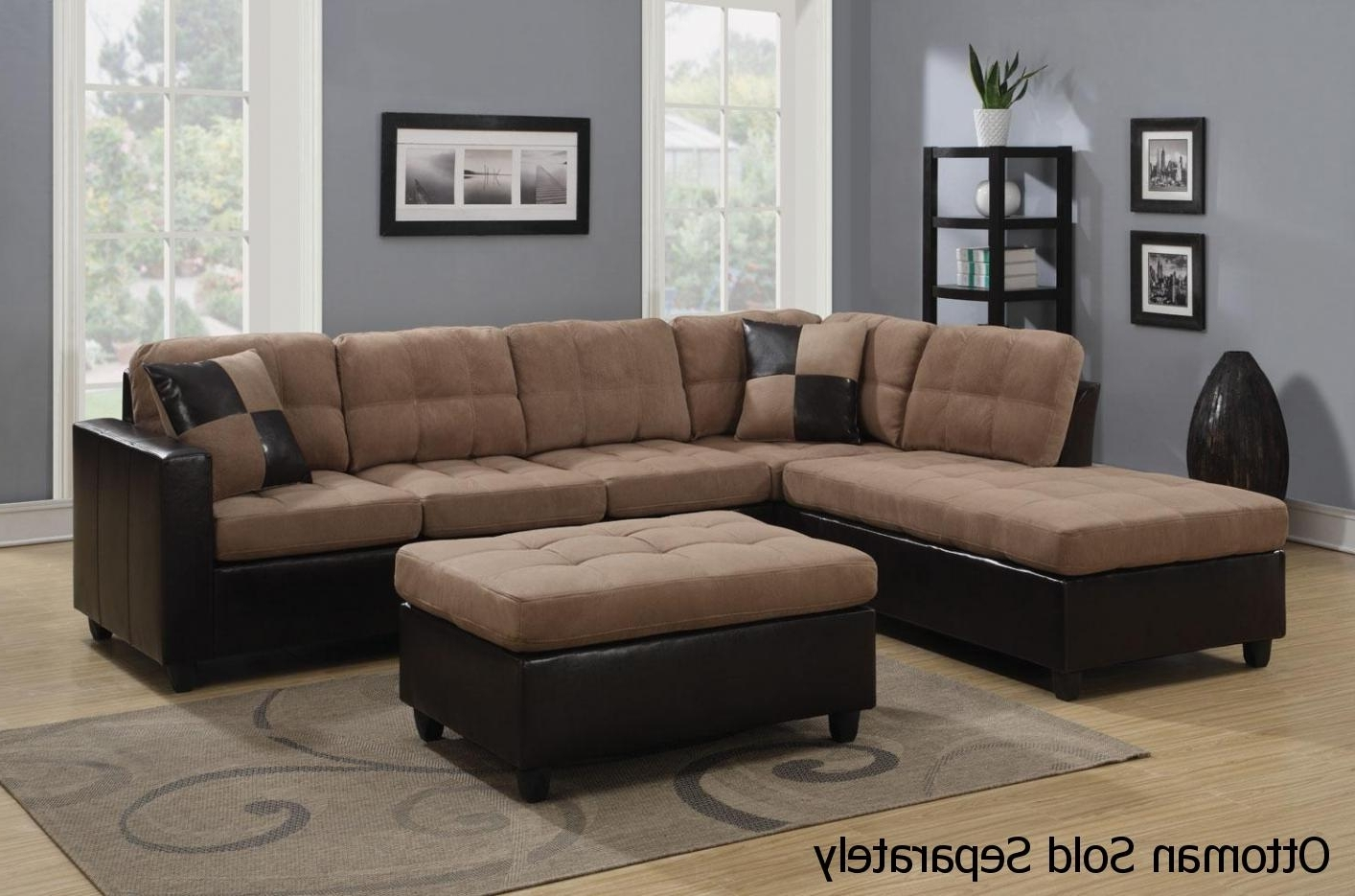 Mallory Beige Leather Sectional Sofa – Steal A Sofa Furniture With Recent Beige Sectionals With Chaise (View 14 of 15)