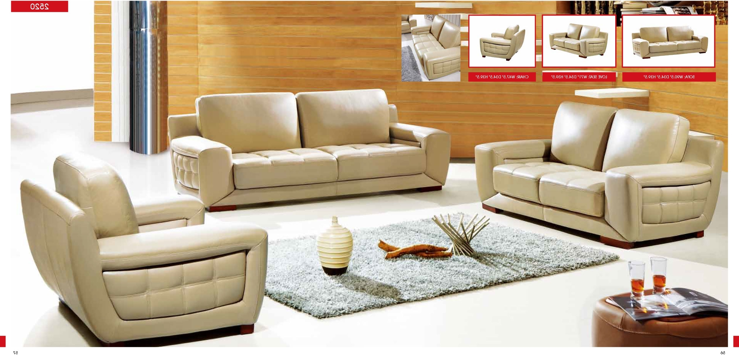 Manhattan Cream Colored Leather Sectional Sofa (View 11 of 15)