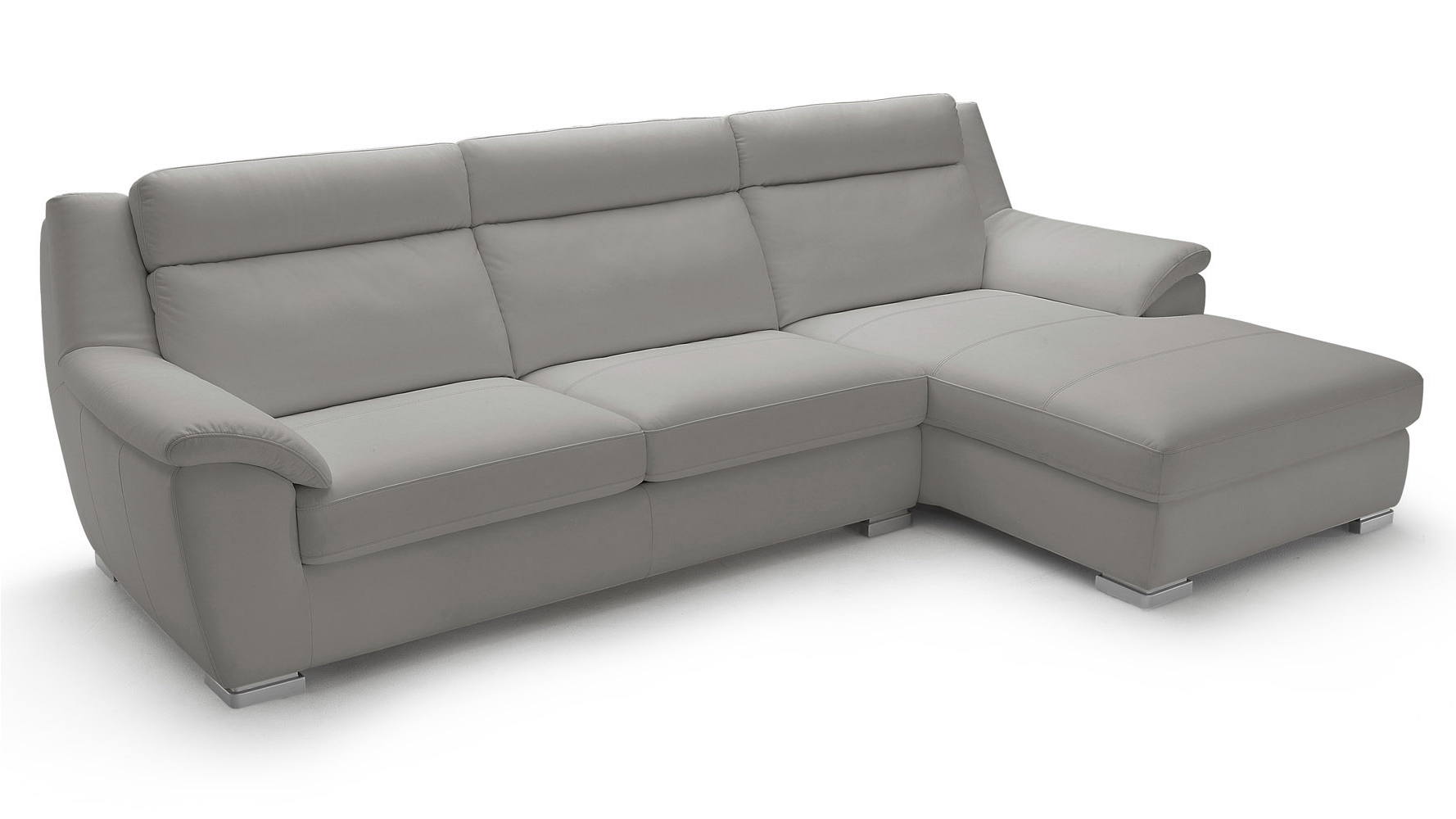 Manor Light Grey Top Grain Leather Sofa Sleeper Sectional With With 2018 Chaise Lounge Sleepers (View 11 of 15)