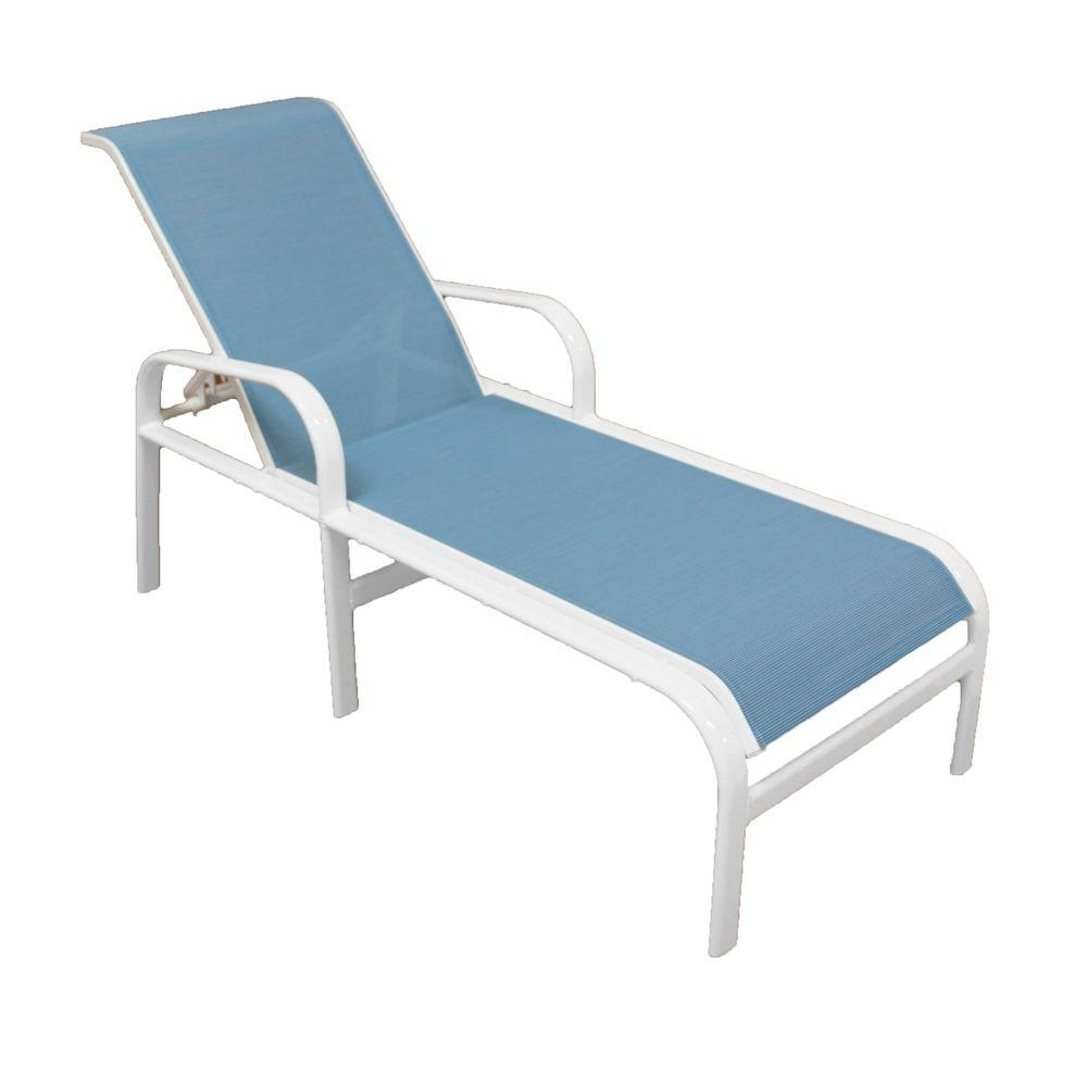 Marco Island White Commercial Grade Aluminum Sling Outdoor Chaise Intended For Preferred Outdoor Chaise Lounge Chairs With Arms (View 6 of 15)