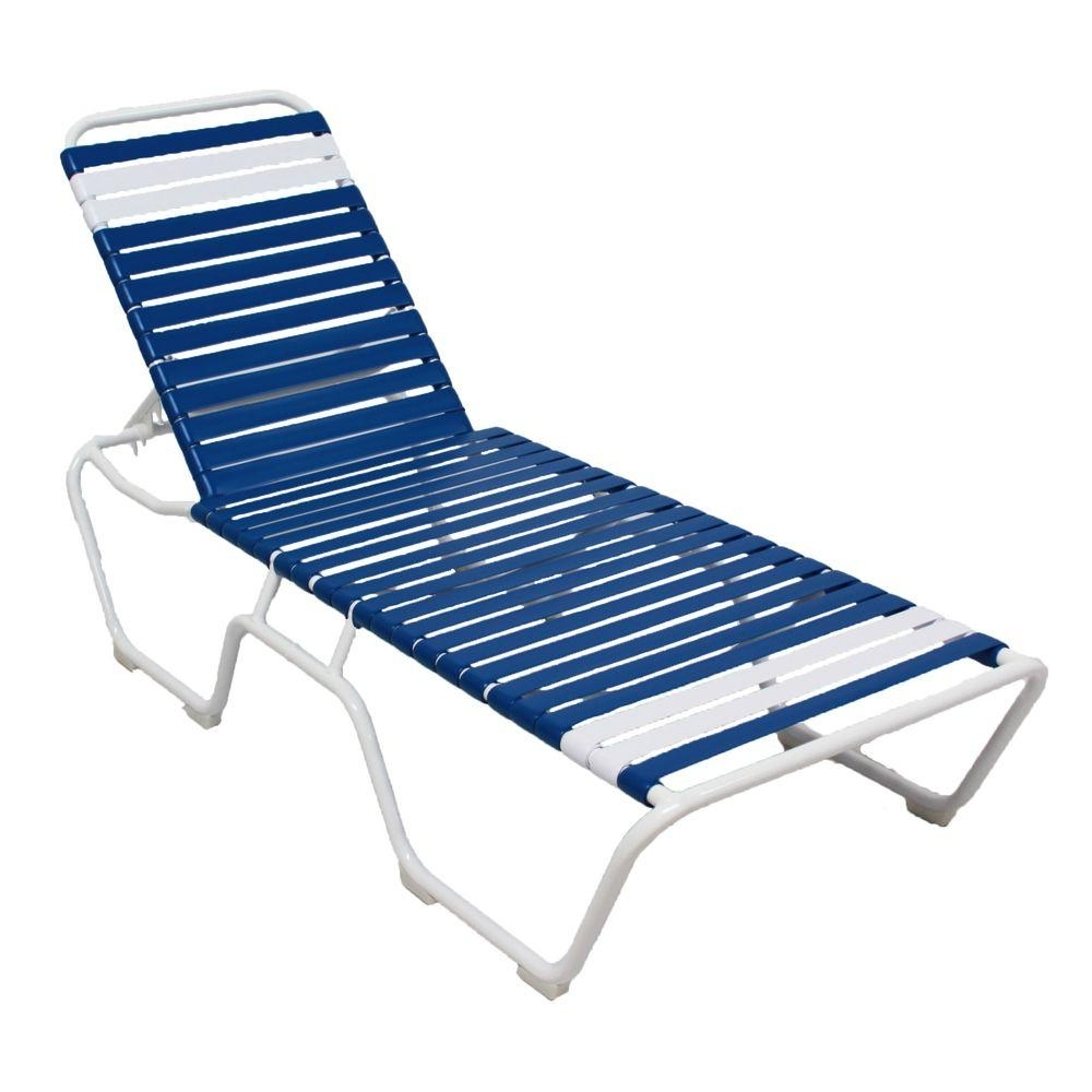 Marco Island White Commercial Grade Aluminum Vinyl Strap Outdoor Pertaining To Fashionable Blue Outdoor Chaise Lounge Chairs (View 2 of 15)