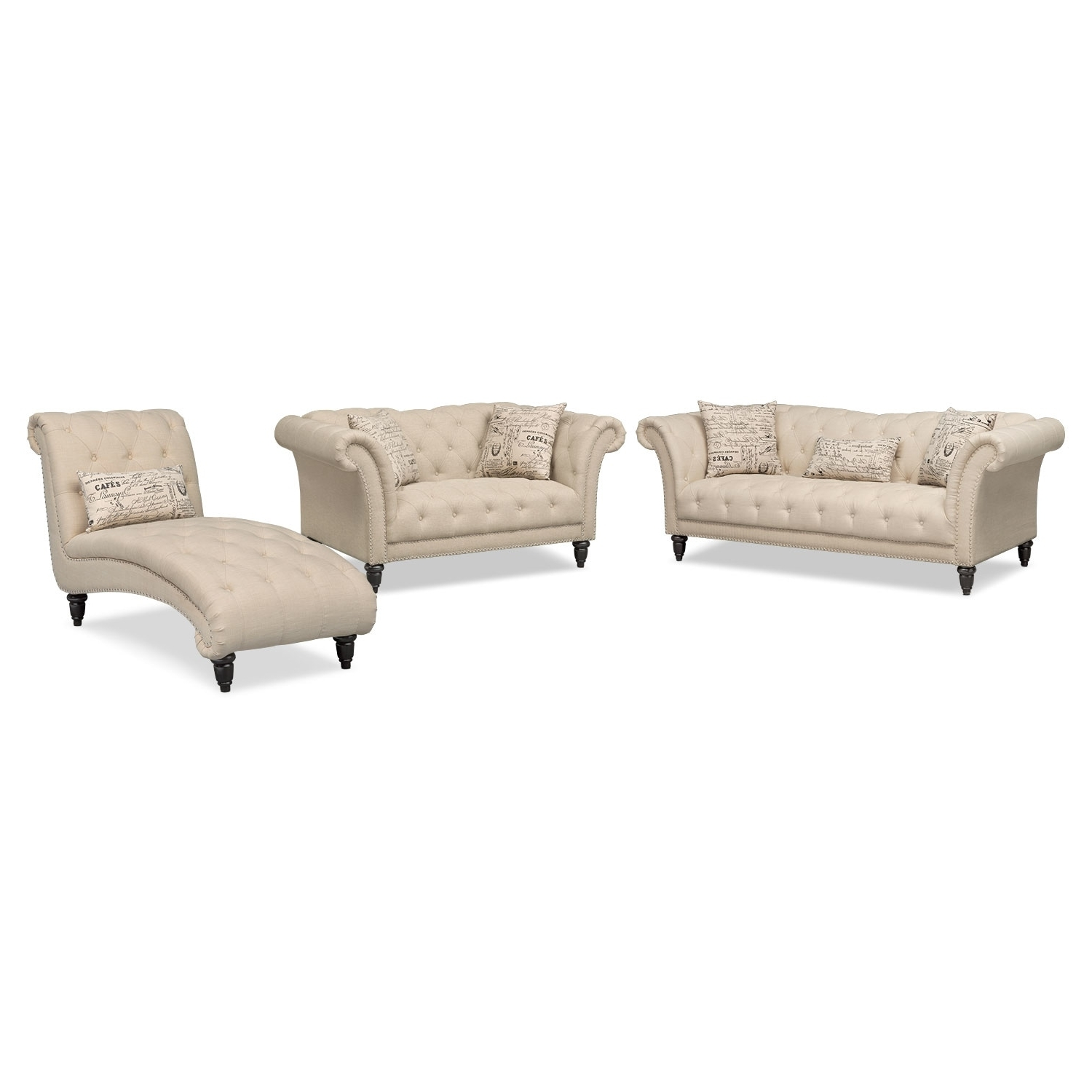 Marisol Sofa, Loveseat And Chaise Set – Beige (View 10 of 15)