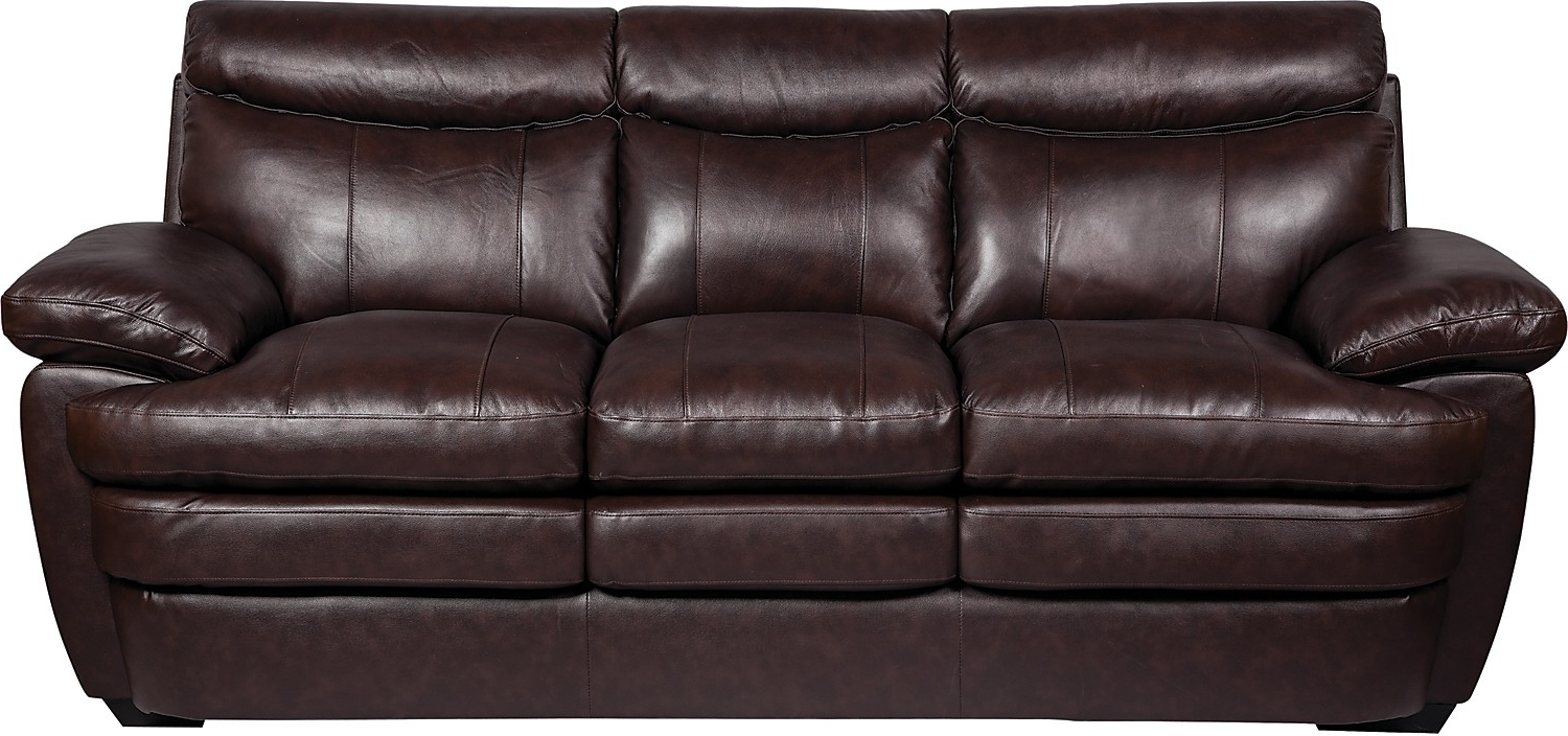 Marty Genuine Leather Sofa – Brown (View 3 of 15)