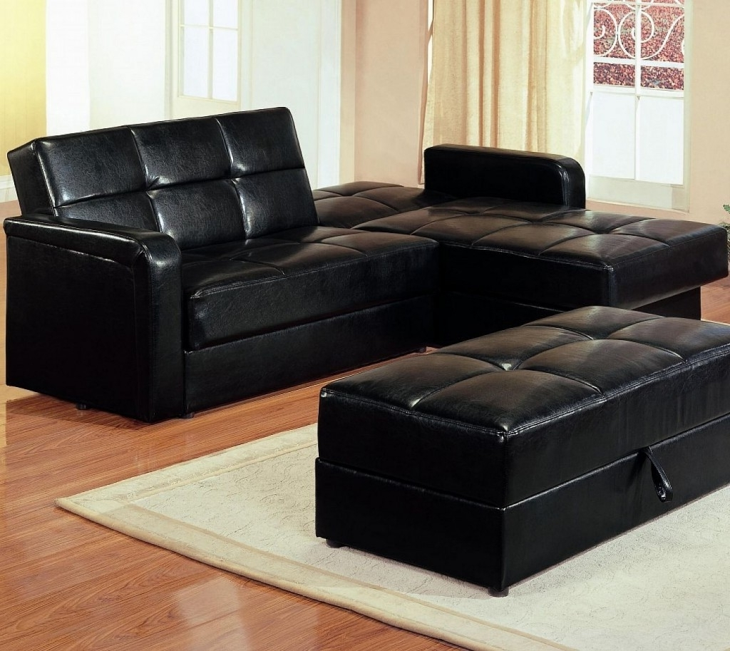 Maximizing Small Living Room Spaces With American Black Leather In 2017 Sectional Sleeper Sofas With Ottoman (View 5 of 15)