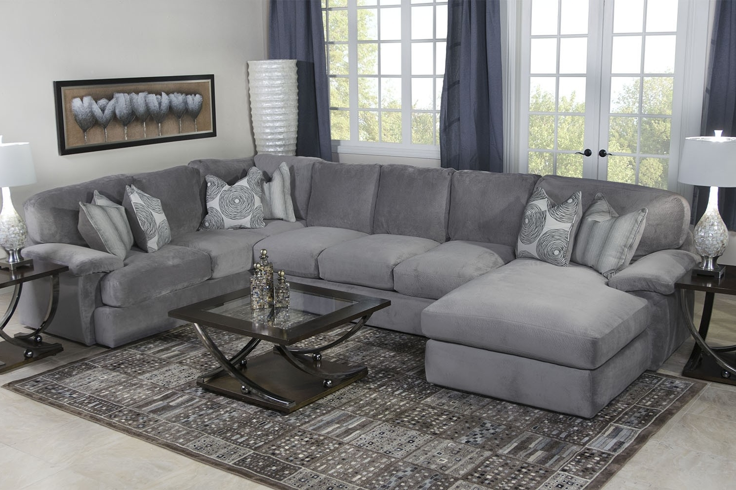 Media Room Sectional Sofas Throughout Most Current Key West Sectional Living Room In Gray Media Image (View 4 of 15)