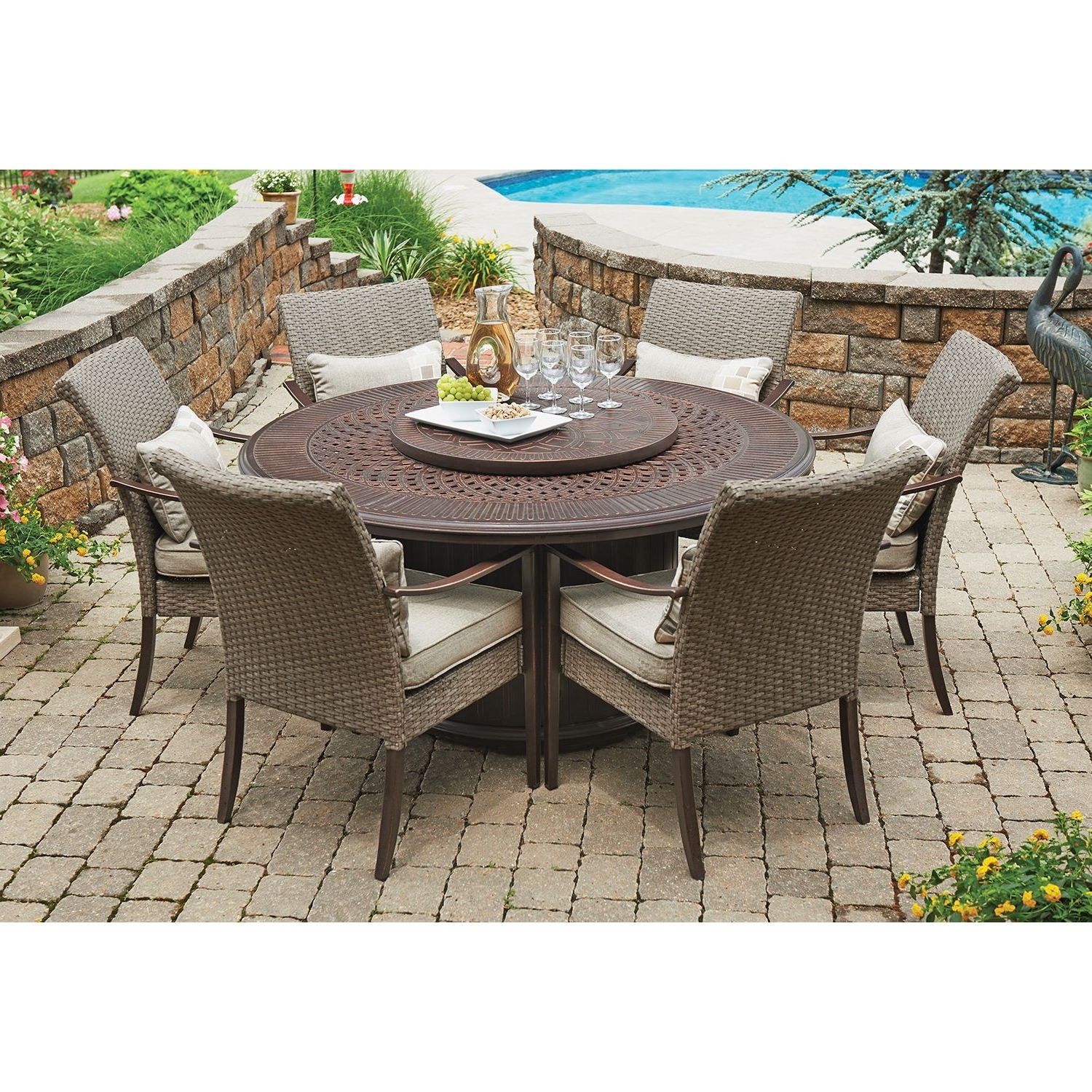 Member's Mark Fairbanks 8 Piece Fire Pit Dining Set – Sam's Club In Latest Sam's Club Chaise Lounge Chairs (View 14 of 15)