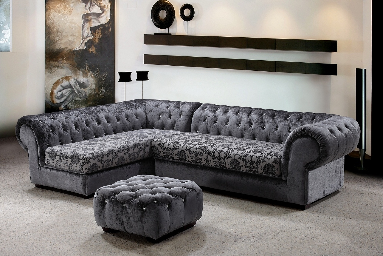 Metropolitan 3 Piece Fabric Sectional Sofa & Ottoman With Crystals For Recent Elegant Sectional Sofas (View 11 of 15)