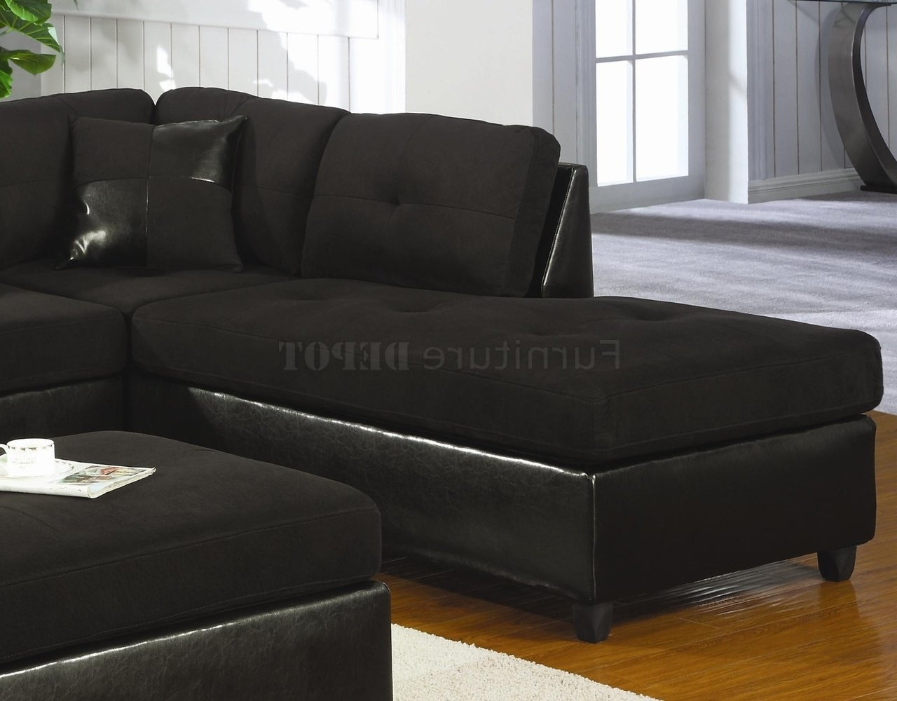 Microfiber & Faux Leather Contemporary For Black Sectional Sofas (View 10 of 15)