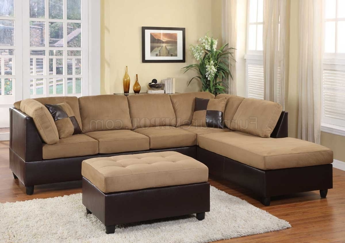 Microfiber Sectional Sofas With Well Known 9909Br Comfort Sectional Sofa In Light Brownhomelegance (View 7 of 15)