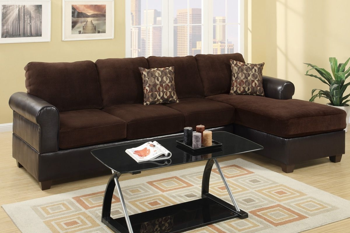 Microsuede Sectional Sofas Intended For Well Known Radley Chocolate Microsuede Sectional Sofa – Steal A Sofa (View 8 of 15)