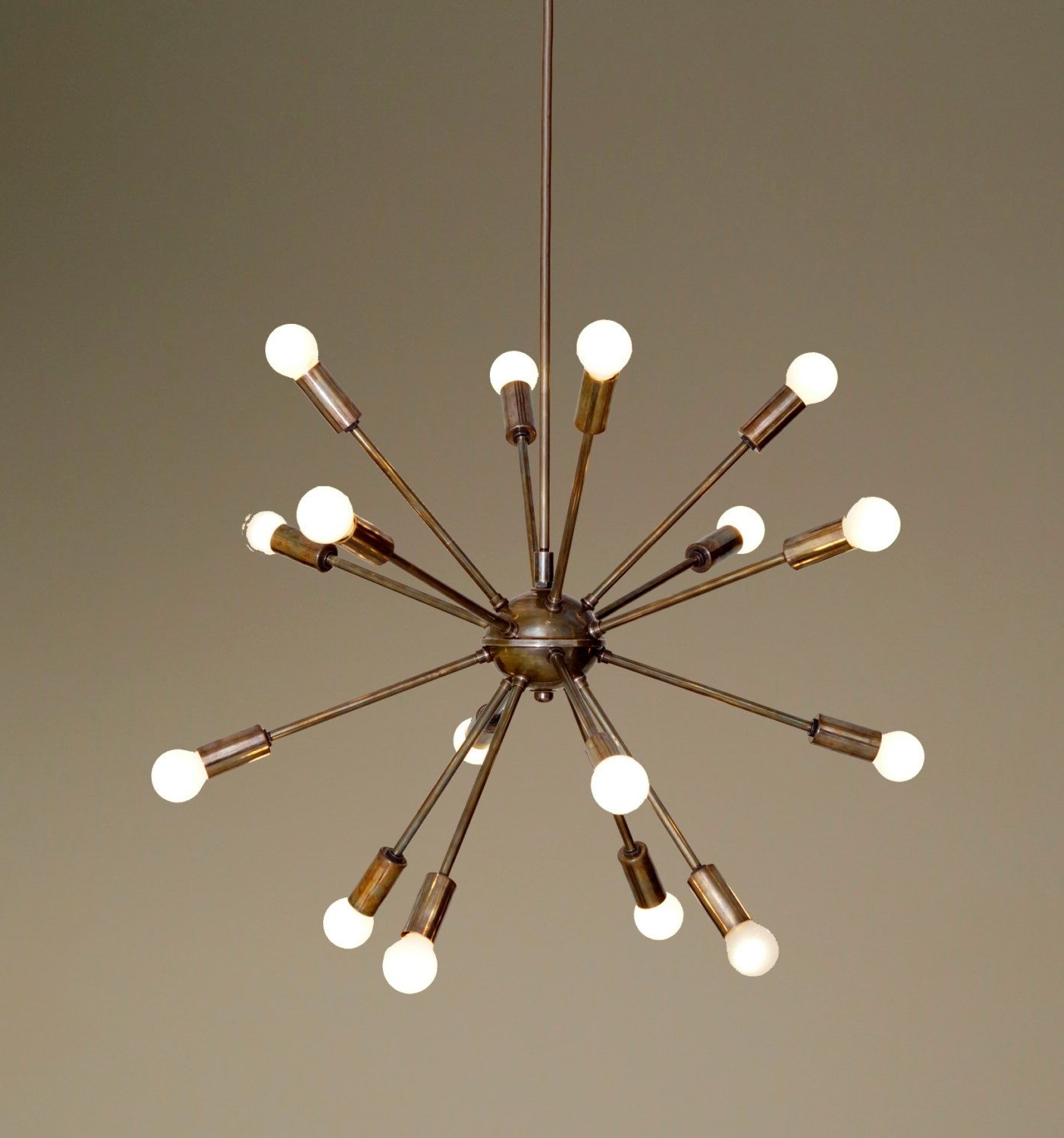 Mid Century Modern Patina Brass Sputnik Chandelier – 16 Arms Sputnik Regarding Recent Atom Chandeliers (View 11 of 15)