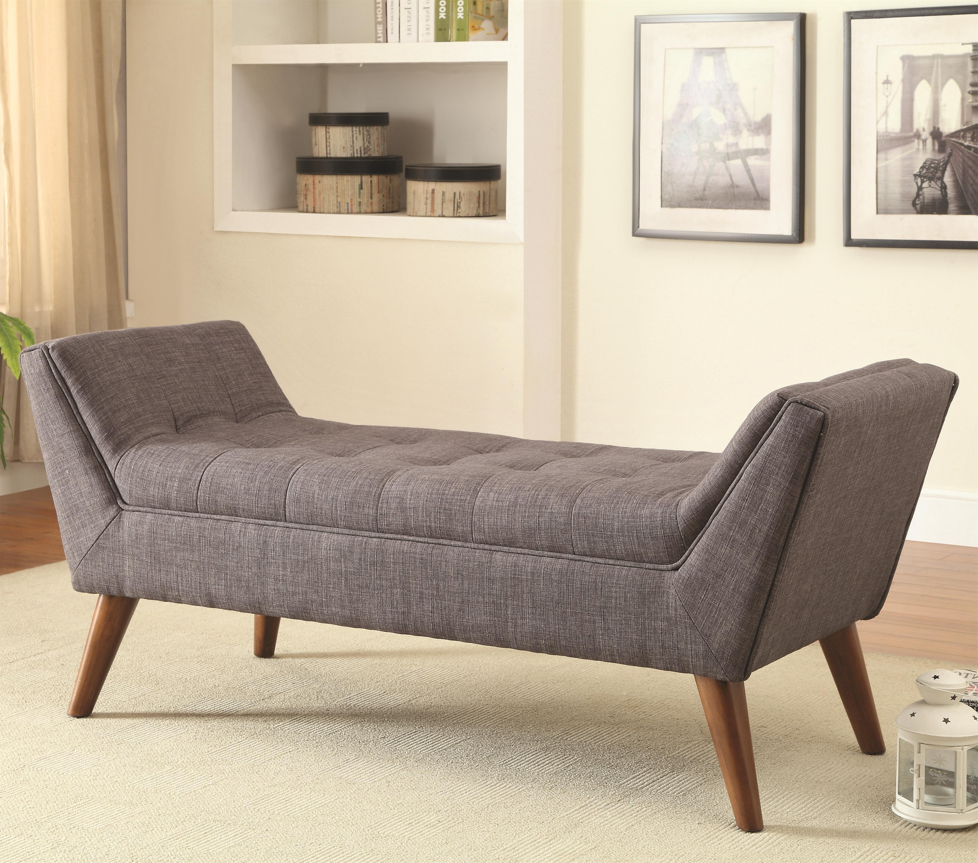 Mid Century Modern Upholstered Accent Benchcoaster (View 14 of 15)