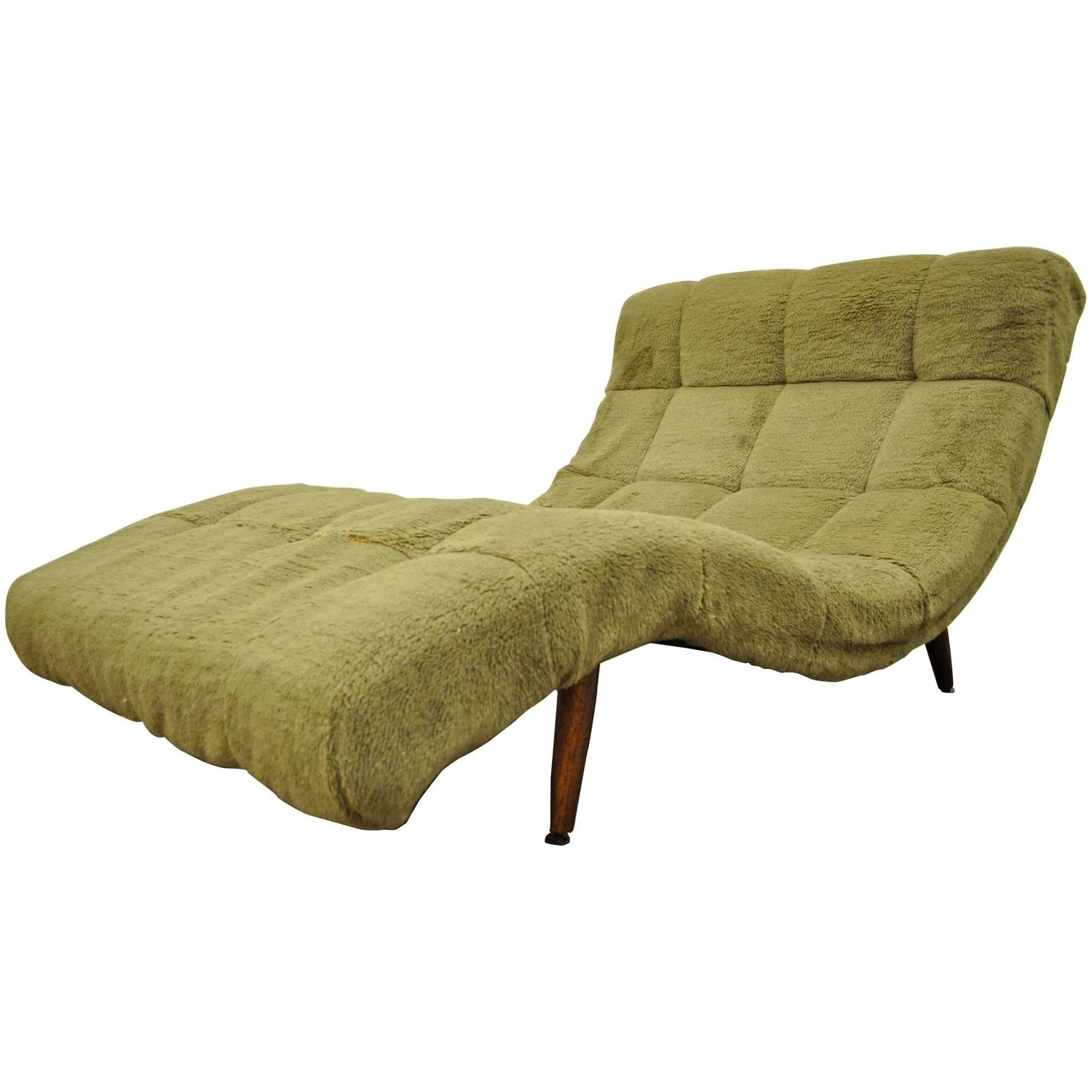 Midcentury Modern Double Wide Wave Chaise Lounge In The Style Of Pertaining To Best And Newest Green Chaise Lounges (View 6 of 15)