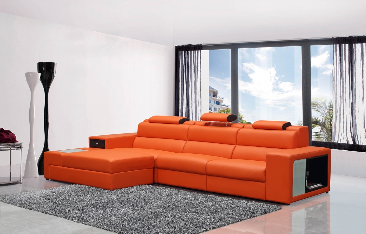 Mini Contemporary Orange Bonded Leather Sectional Sofa With Preferred Mini Sectional Sofas (View 12 of 15)
