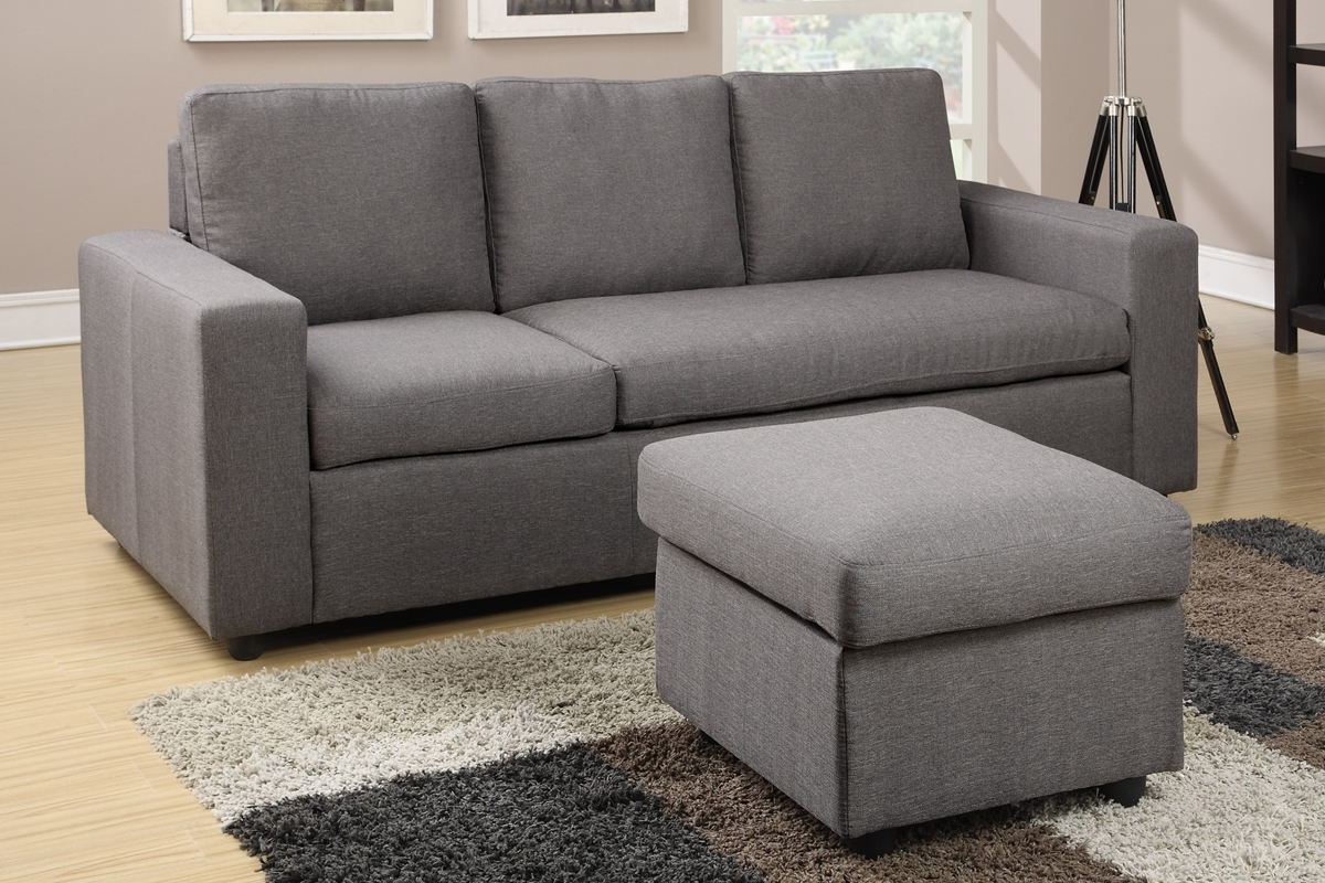 Mini Sectional Sofas Regarding Most Recently Released Gray Linen Convertible Chaise Sofa & Ottoman Set – Furniture Bureau (View 5 of 15)