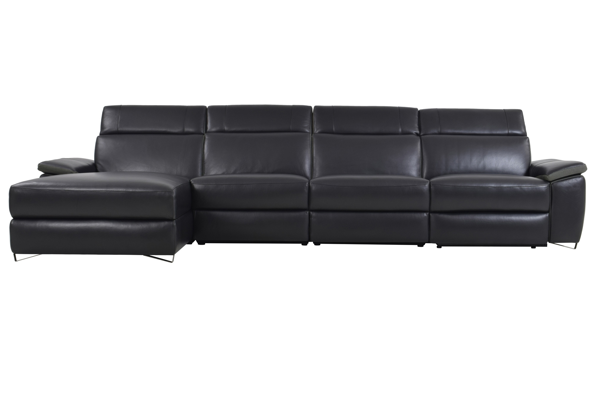 Mobilia Sectional Sofas With Regard To 2017 Aura Black Top Grain Leather Power Reclining Large Sectional Sofa (View 7 of 15)