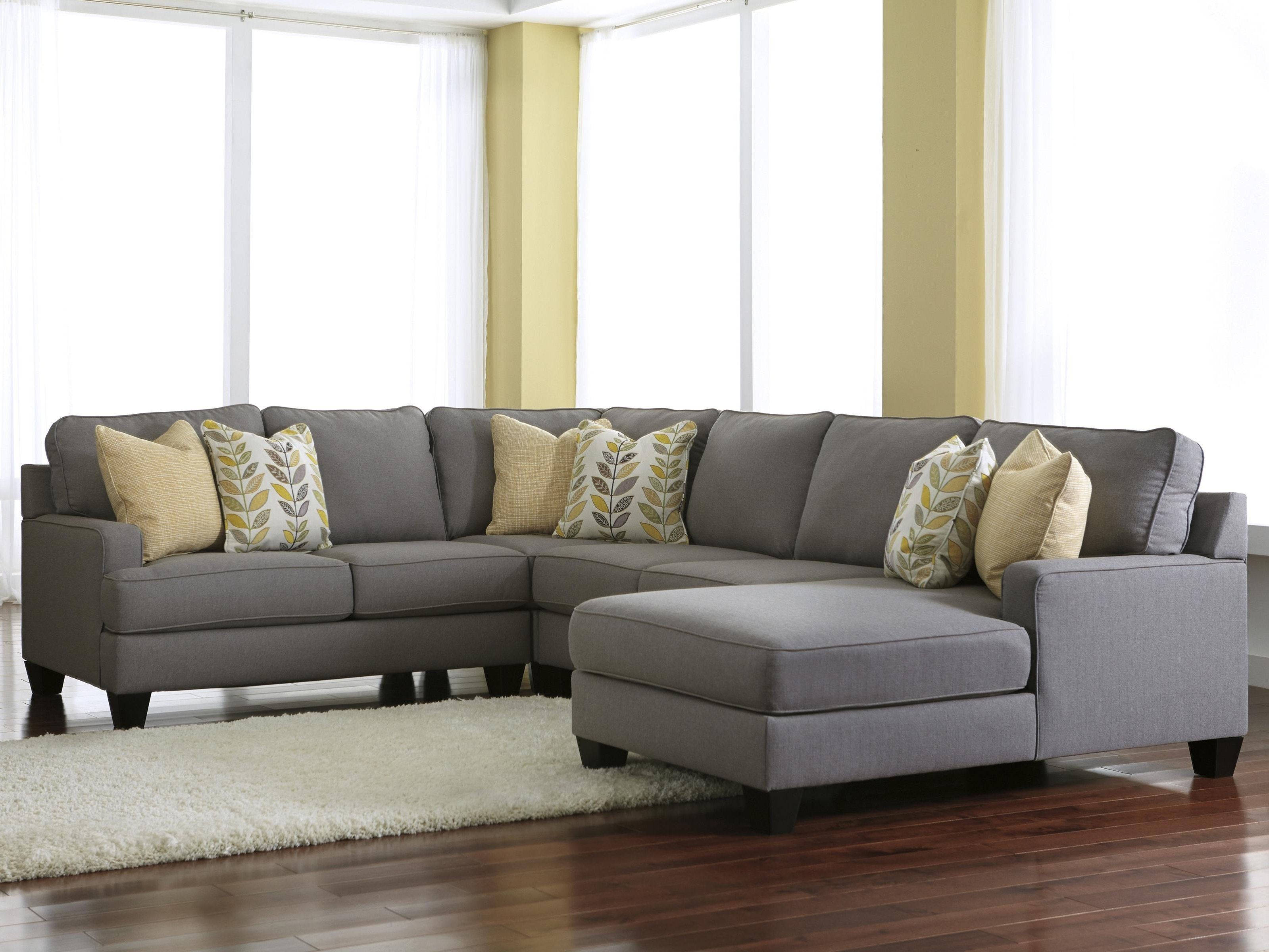 Modern 4 Piece Sectional Sofa With Left Chaise & Reversible Seat Within Trendy Gallery Furniture Sectional Sofas (View 8 of 15)