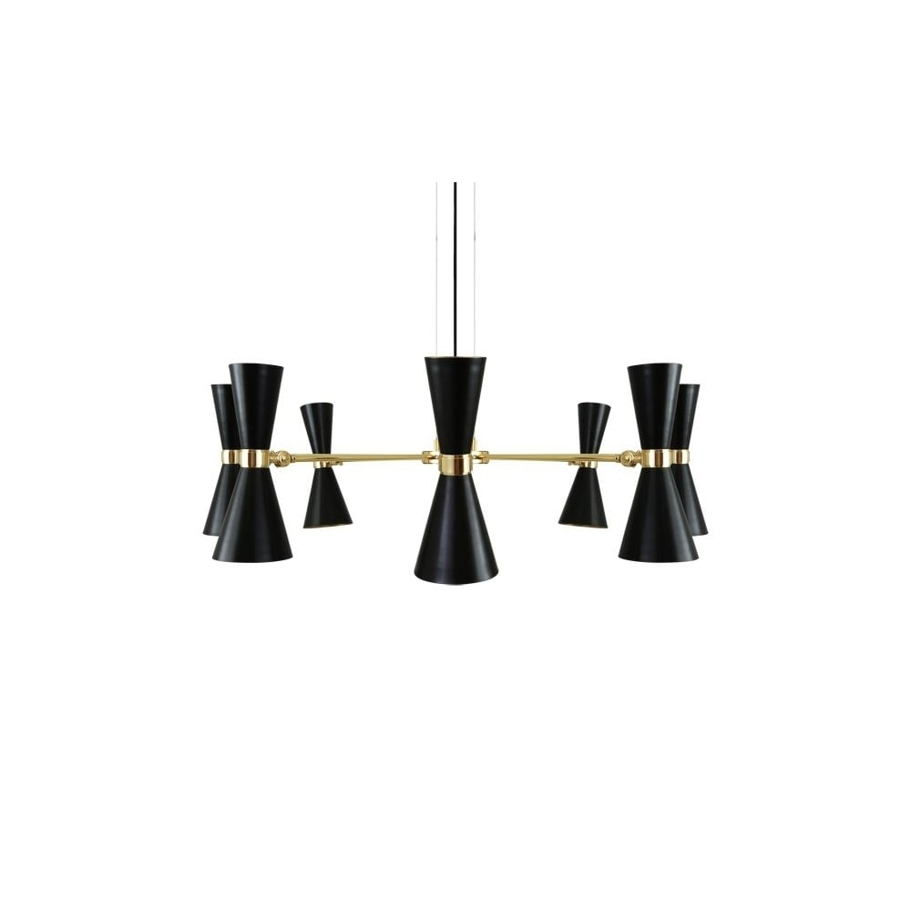 Modern 8 Light Polished Brass Black Chandelier  Lighting And Lights Uk For Most Current Black Contemporary Chandelier (View 10 of 15)