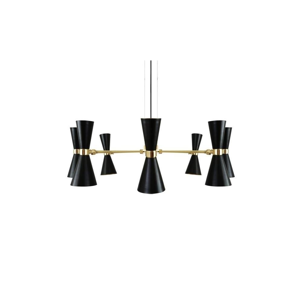 Modern 8 Light Polished Brass Black Chandelier Lighting And Lights Uk For Most Current Black Contemporary Chandelier (View 8 of 15)